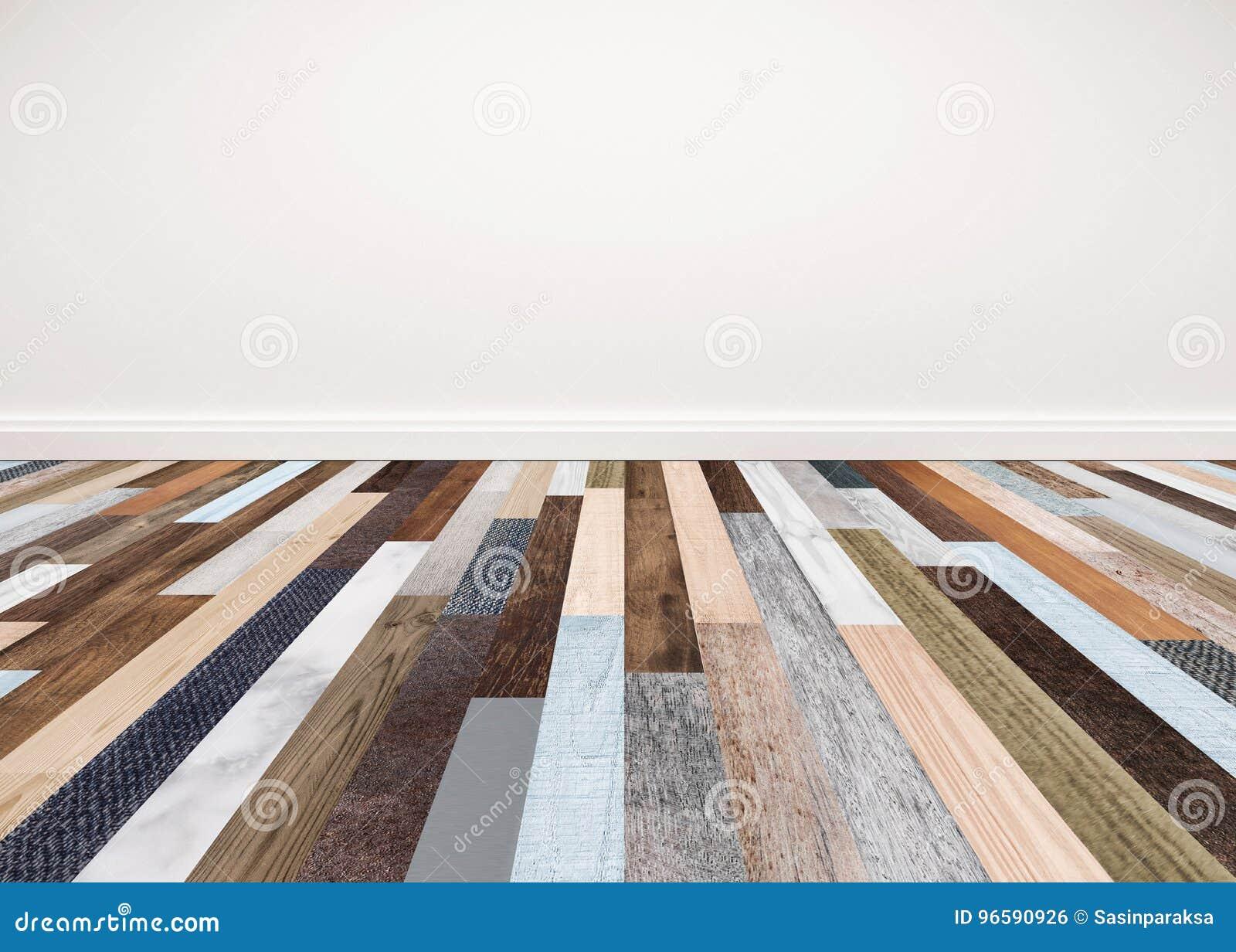 Piso de madera con la pared blanca, espacio vacío interior para el fondo