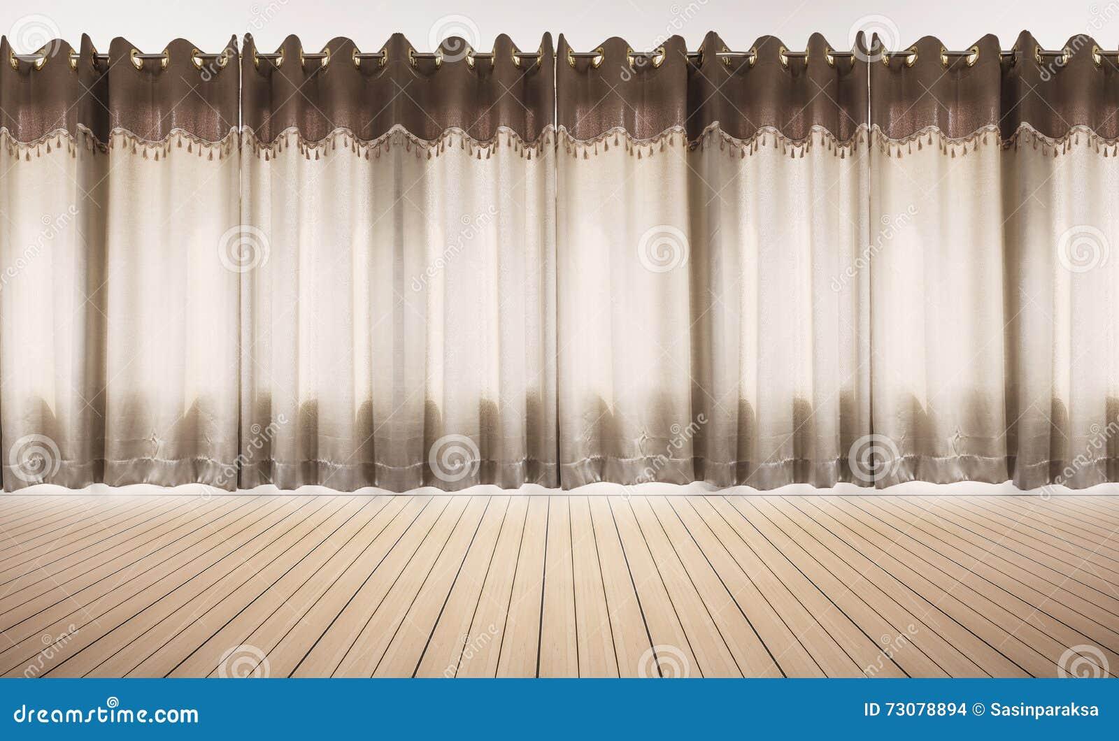 Piso de madera y pared blanca con las cortinas, espacio vacío interior