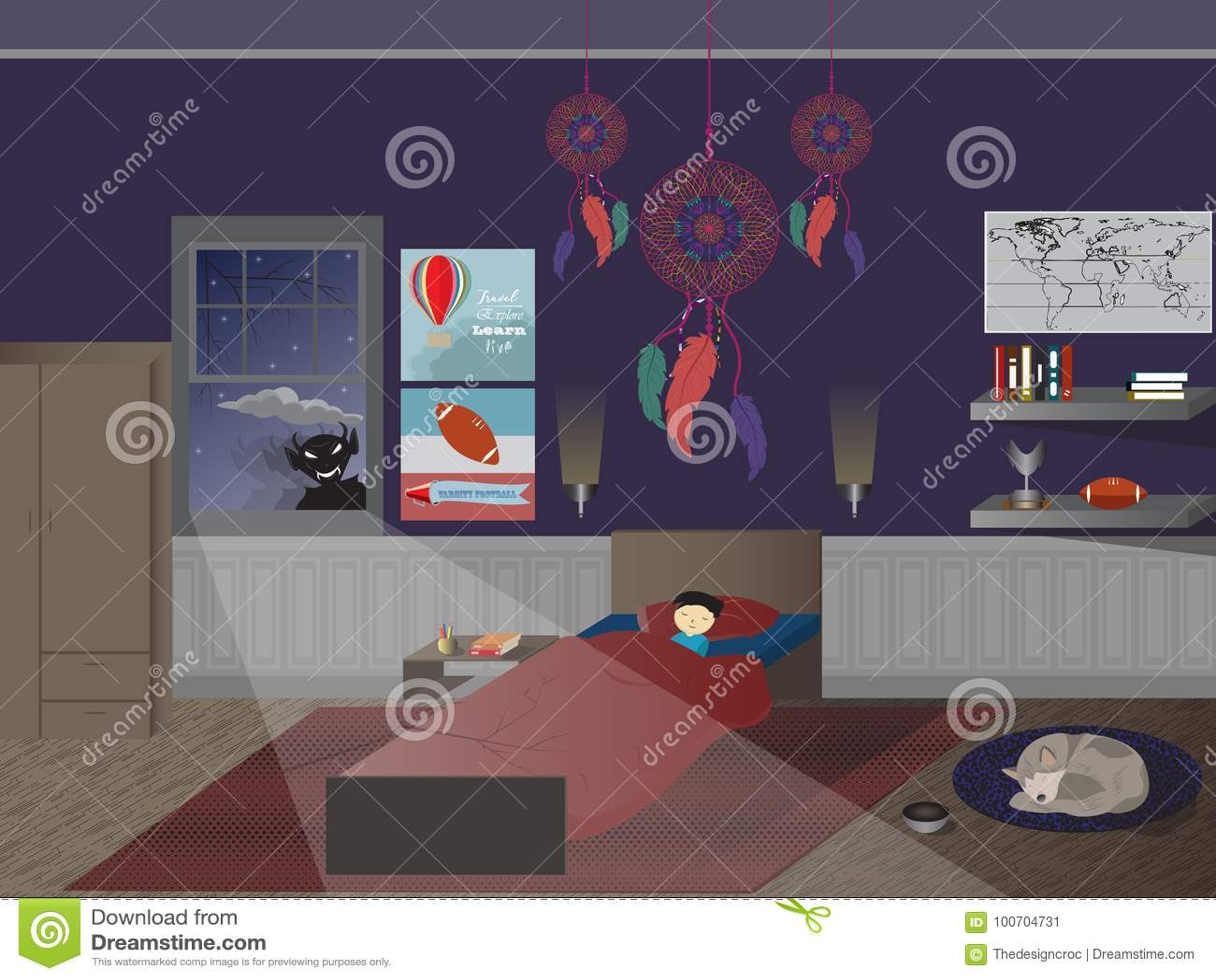 Piso del perro de la ventana del monstruo del dreamcatcher del dormitorio el dormir del muchacho del niño