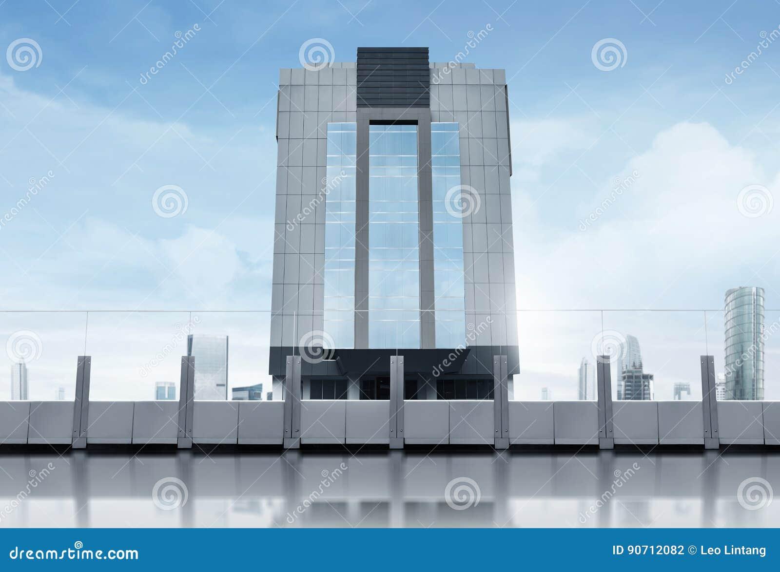 Piso Vacío De La Terraza Con Los Rascacielos Modernos Del
