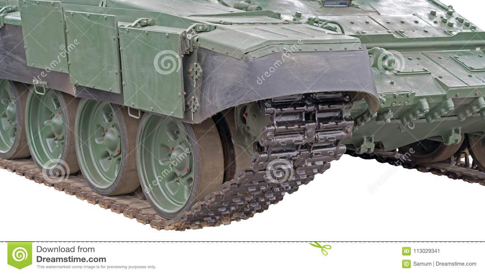 Pista de Caterpillar de un tanque militar en blanco