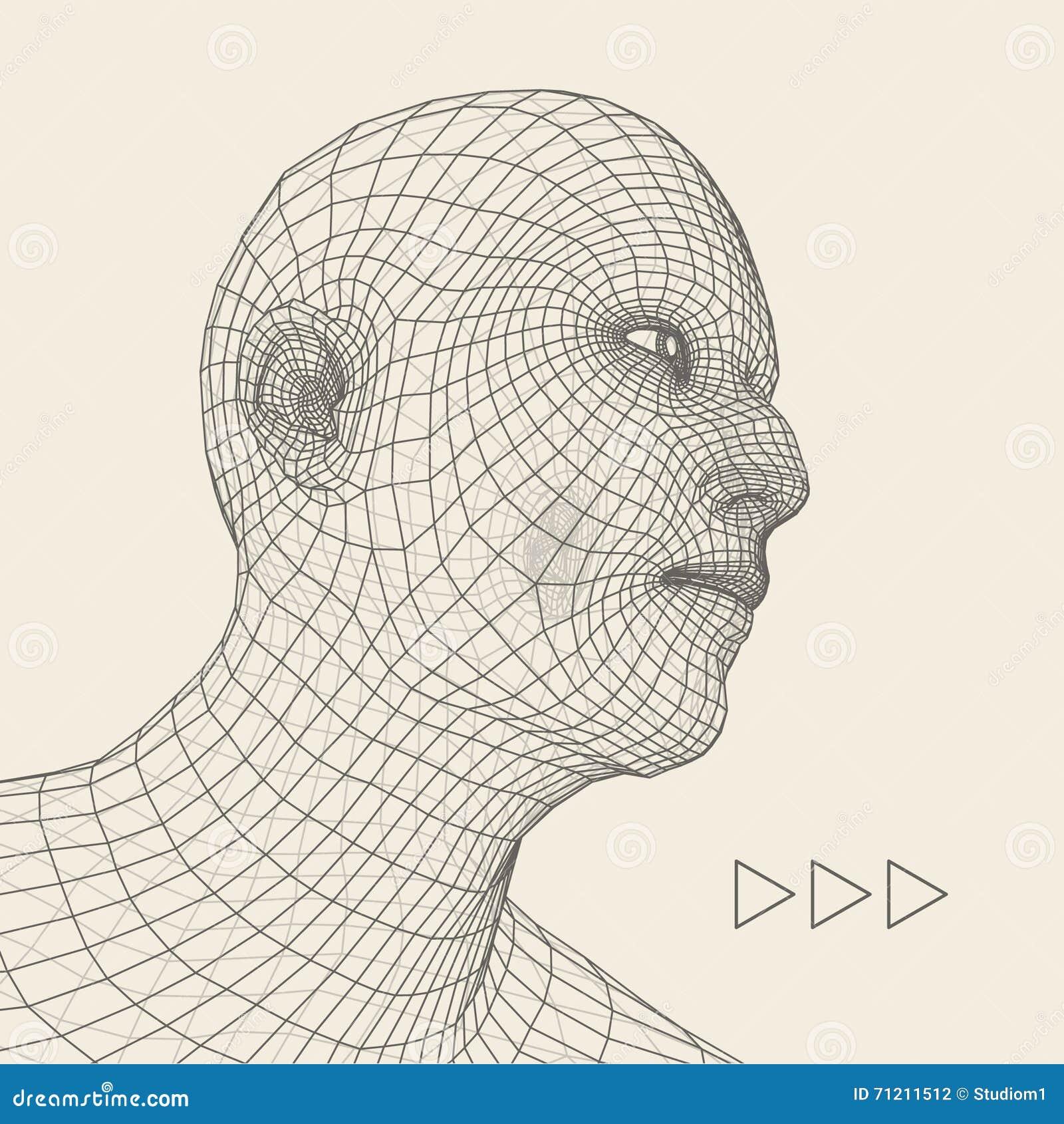 Pista de la persona de una red 3d Modelo del alambre de la pista humana Cabeza humana del polígono Exploración de la cara Vista d