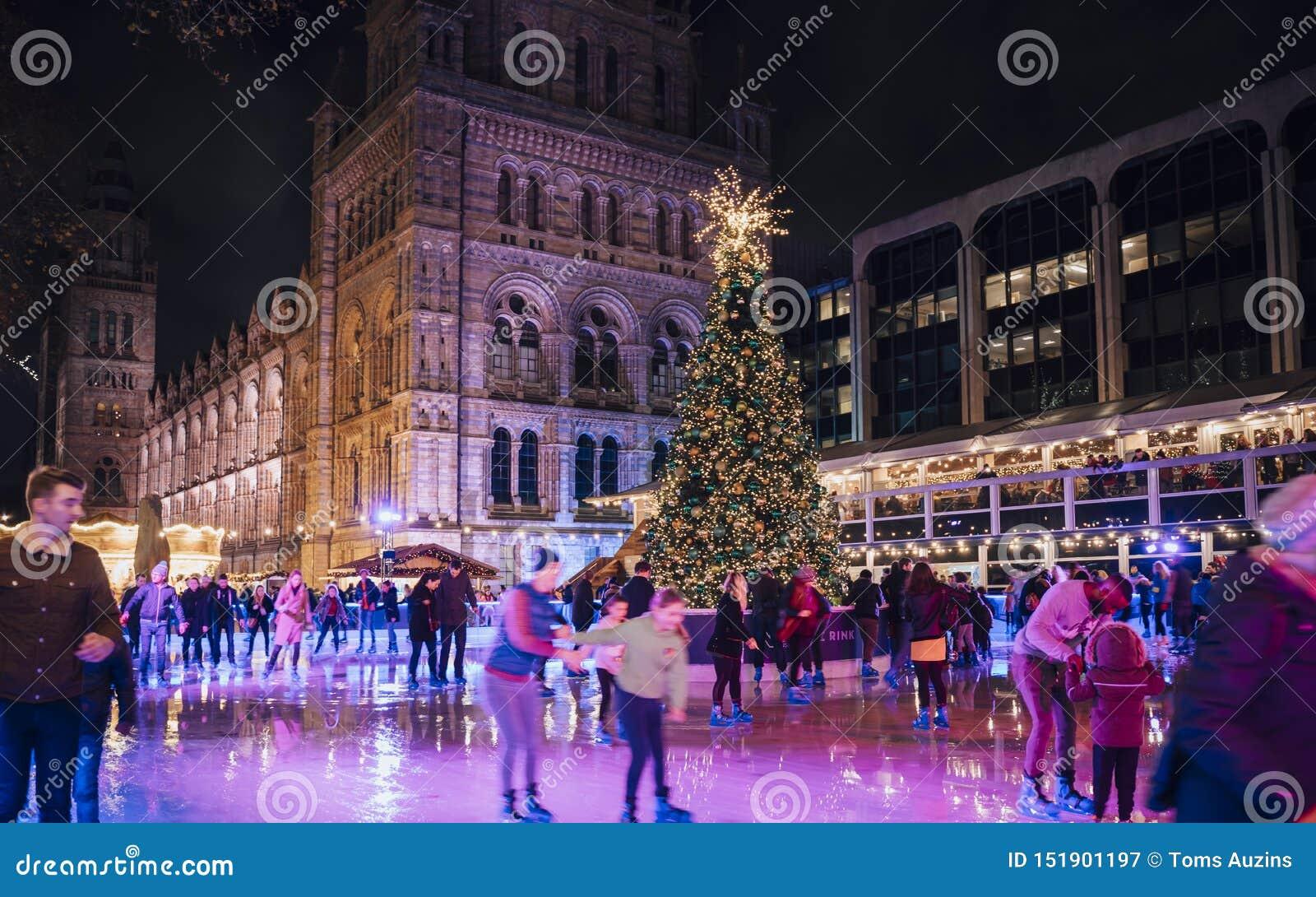 Pista de patinaje del árbol de navidad y de hielo en la noche fuera del museo de la historia natural