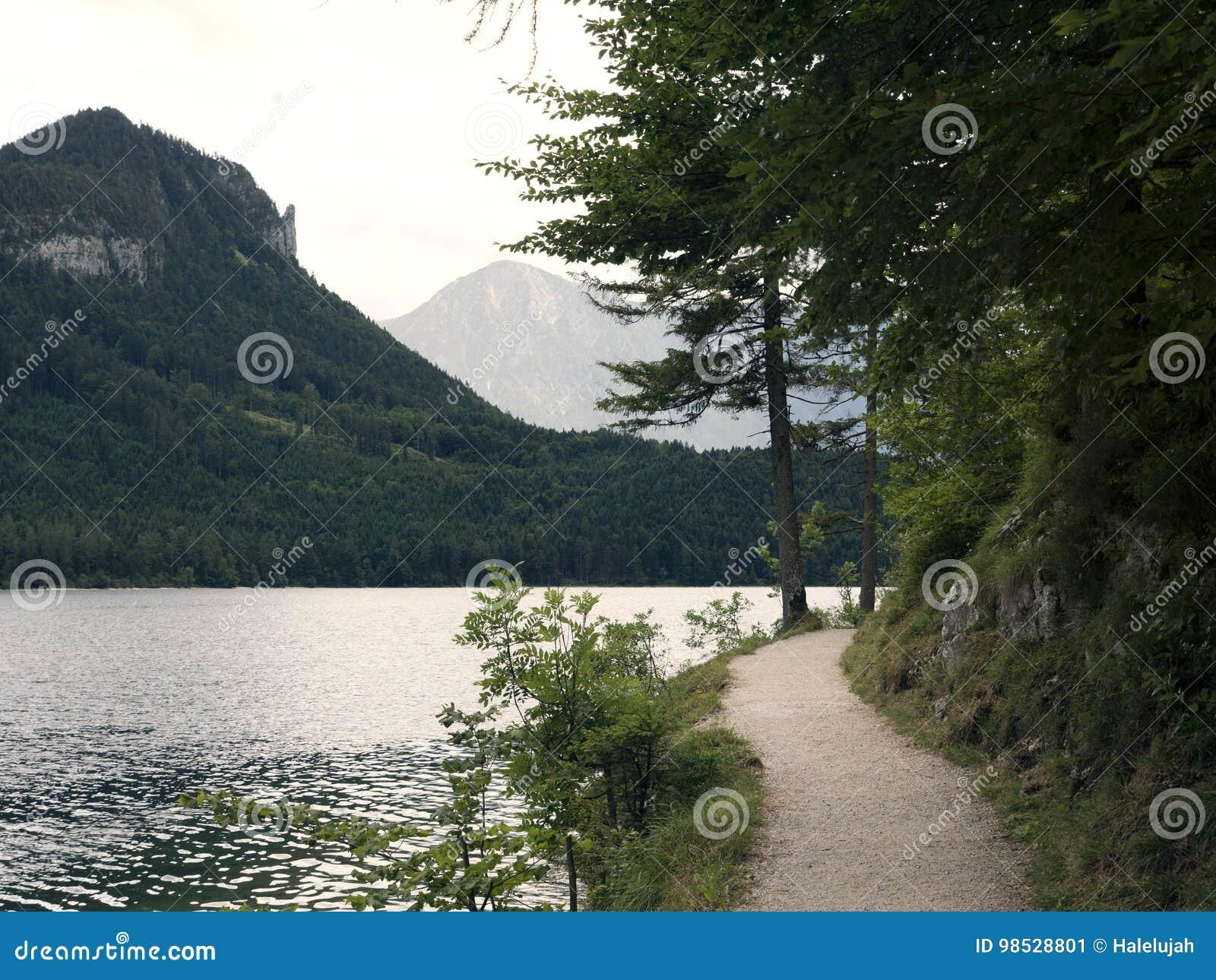 Pista de senderismo alrededor del lago de la montaña Macizo alpino, barranco hermoso en Austria