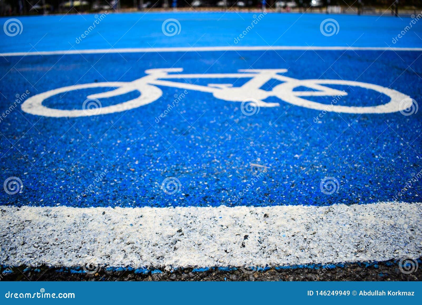 Pista do s?mbolo da bicicleta na estrada