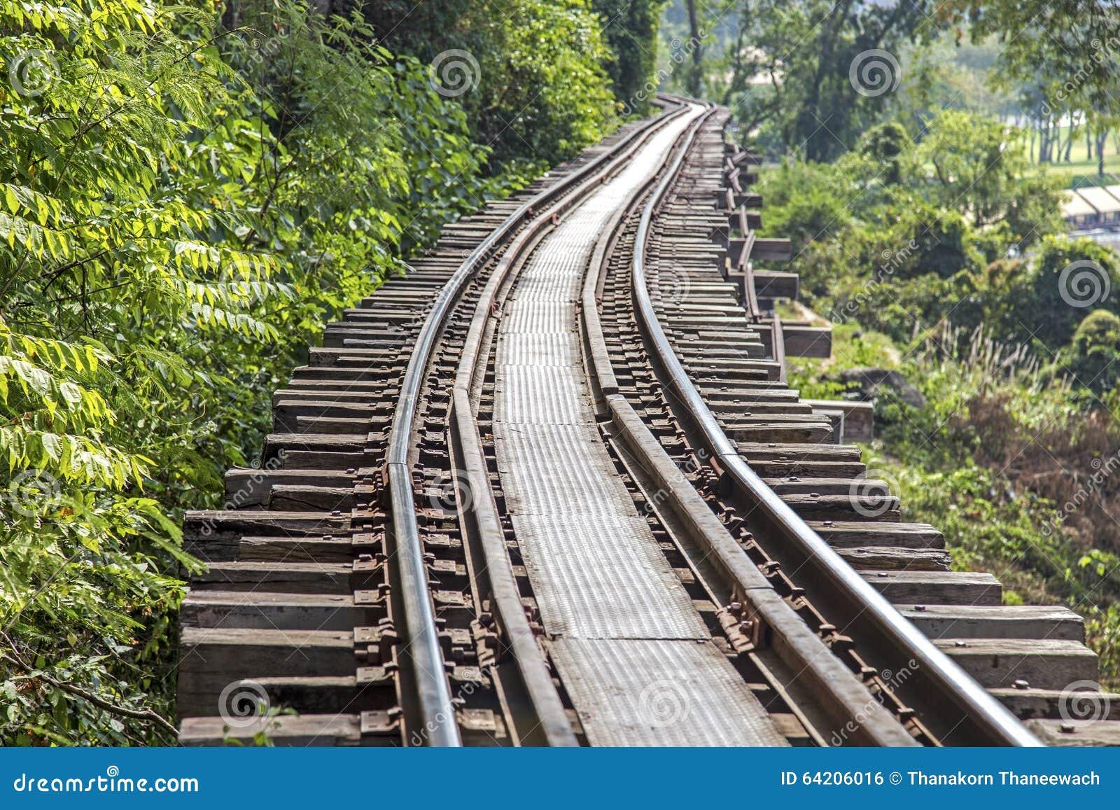 Pista ferroviaria en la provincia de Kanchanaburi, Tailandia