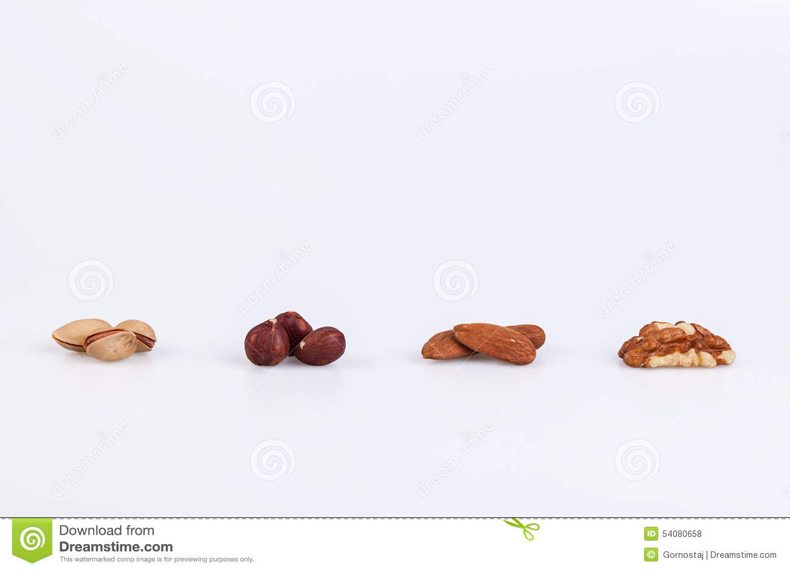 Pistaches, pecannoot, amandelen en okkernootnoten