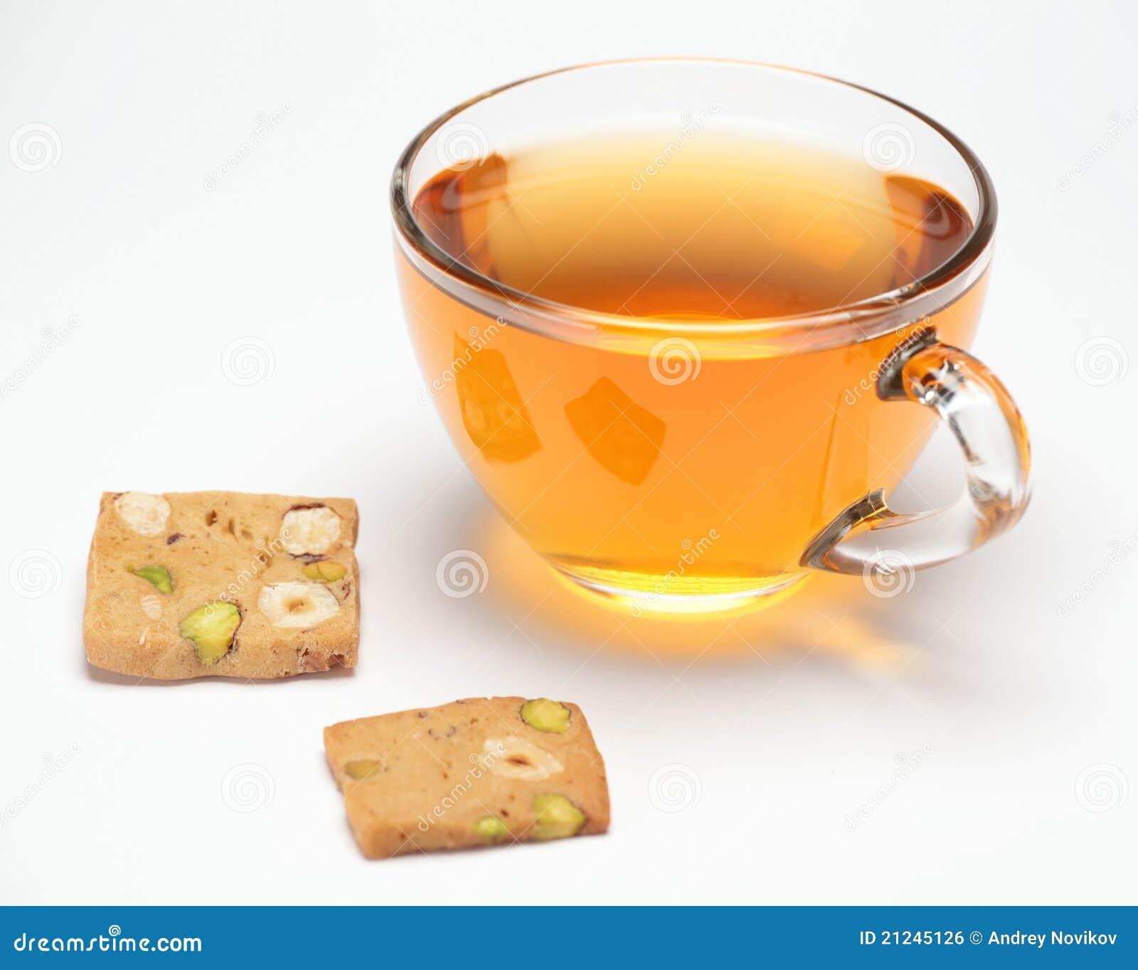 Pistachio cookies and tea