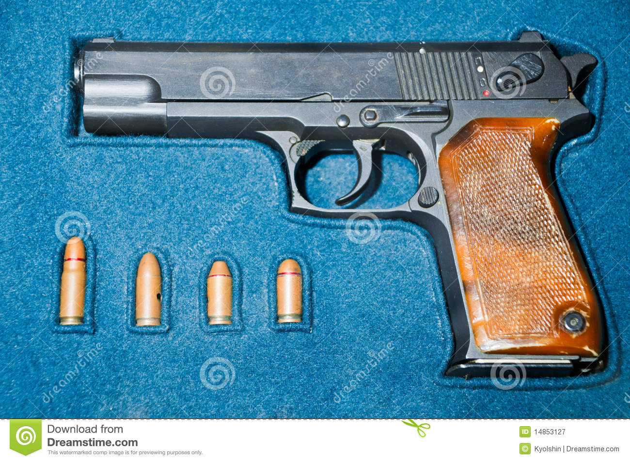 Download Pistol and bullets in box stock image. Image of design - 14853127