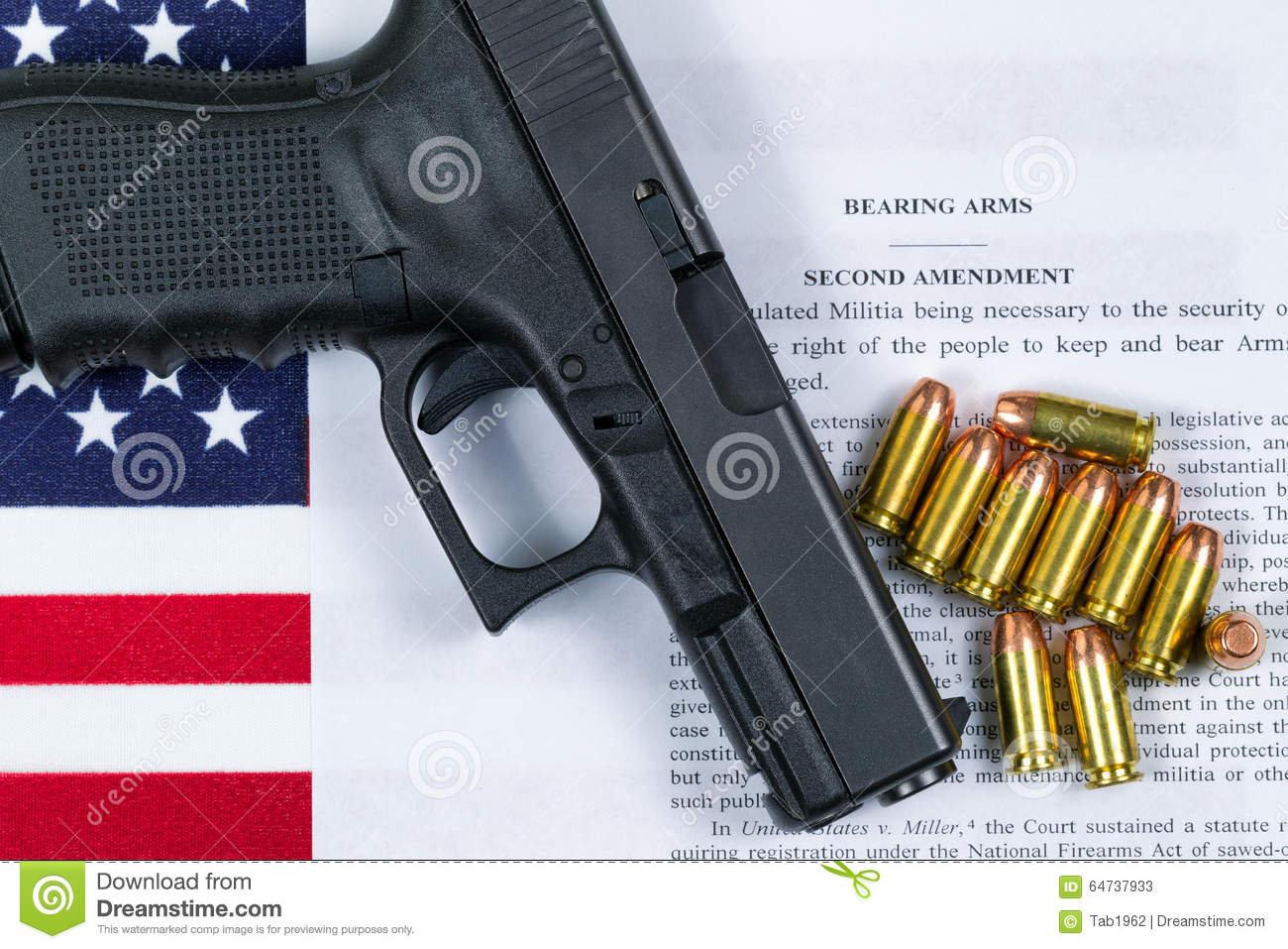 Pistol With Flag And American Paper For Right To Bear Arms Stock  Pistol With Flag And American Paper For Right To Bear Arms