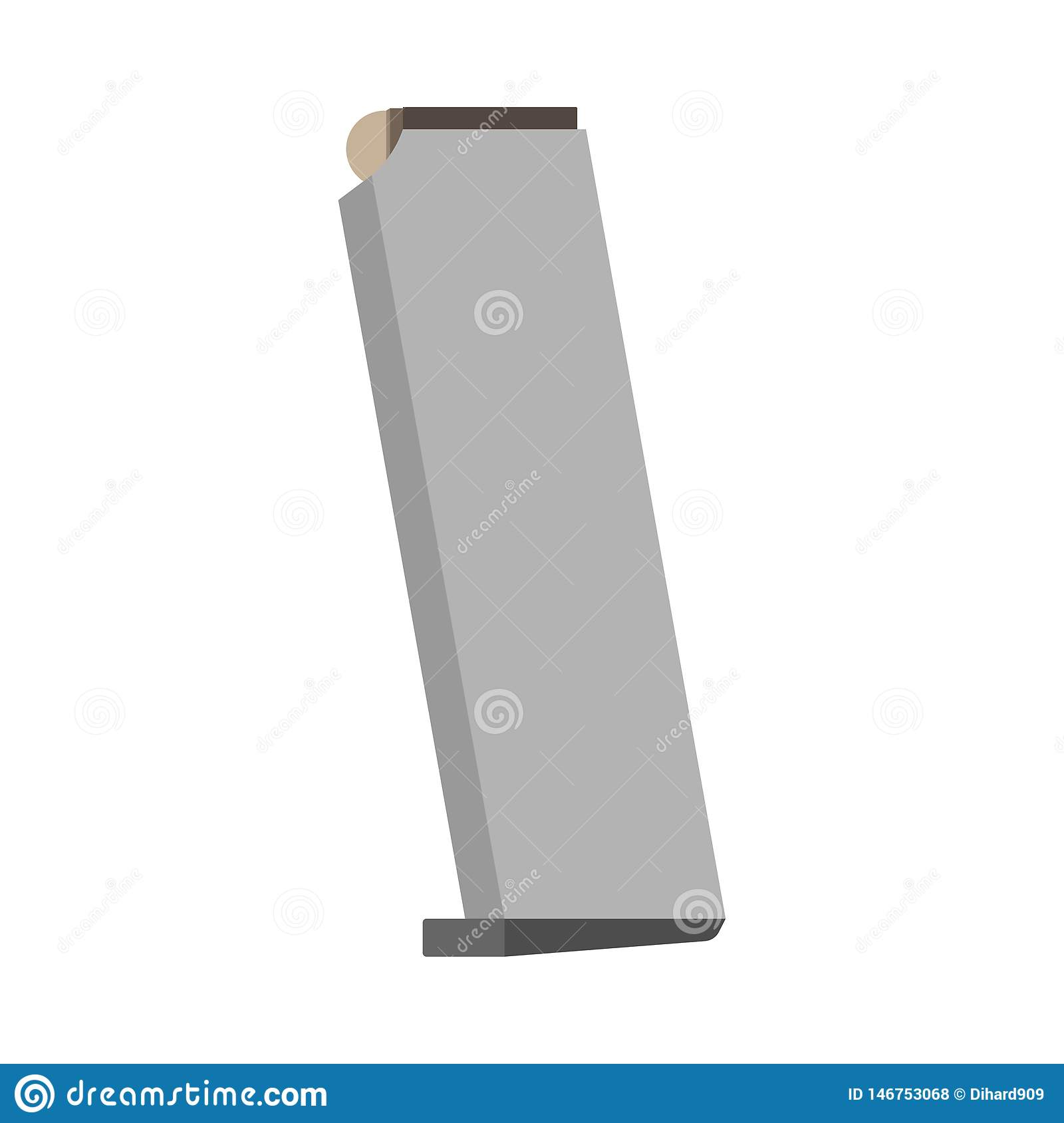 Pistol magazine ammo security vector icon. Glock ammunition military isolated white with bullet caliber barrel
