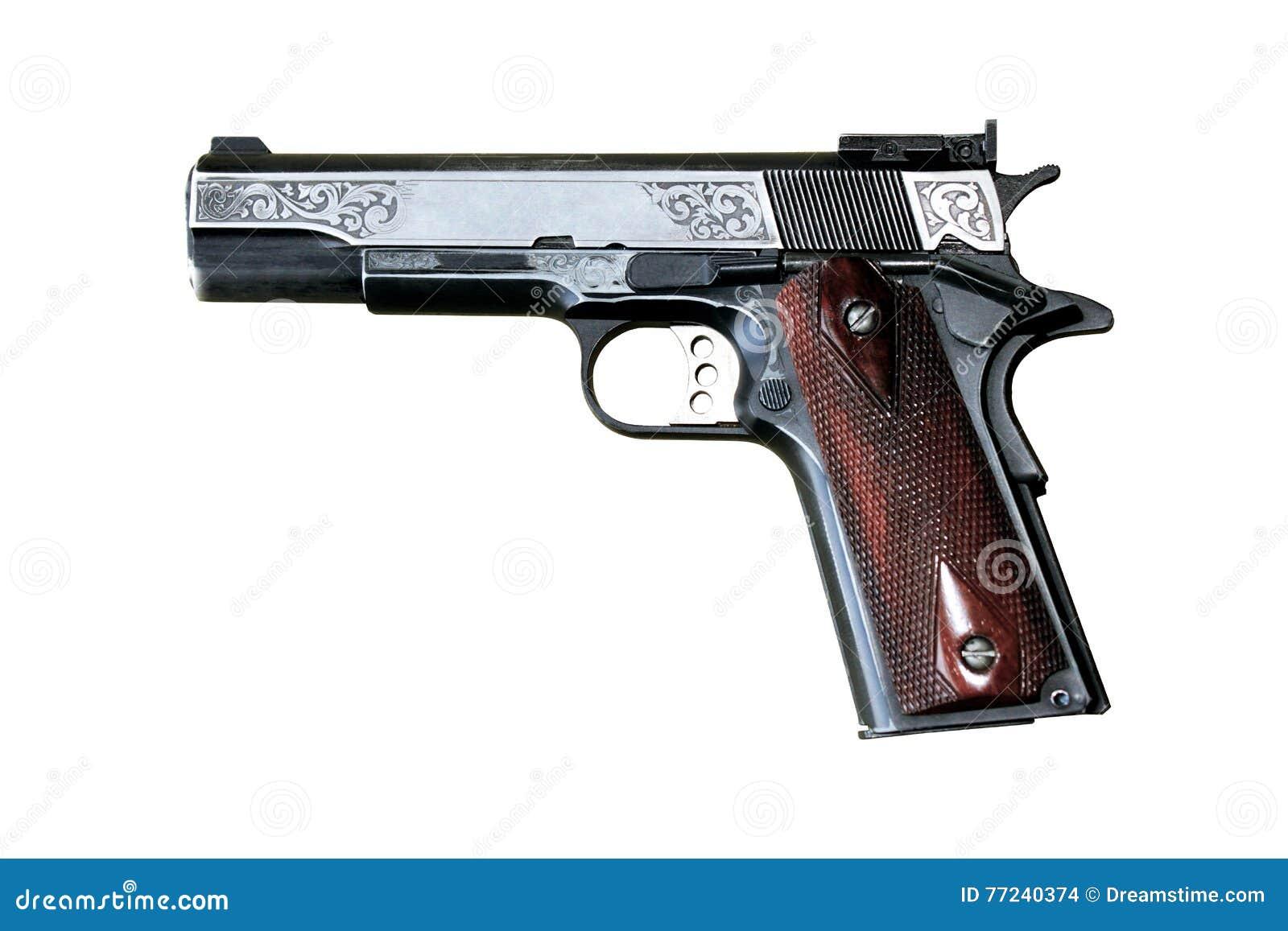 Pistol på vit bakgrund