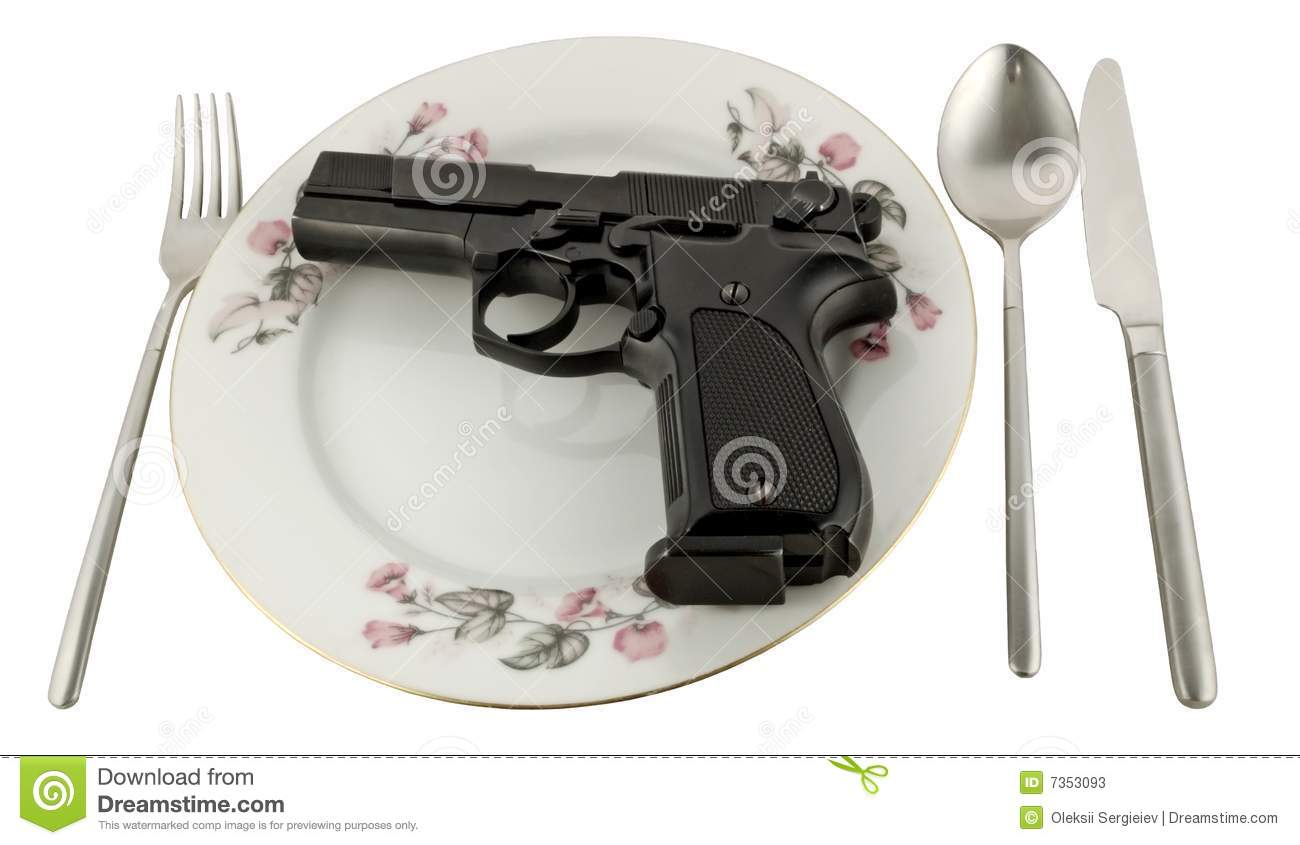 Pistol In A Plate On The Served Table Stock Photos - Image ...