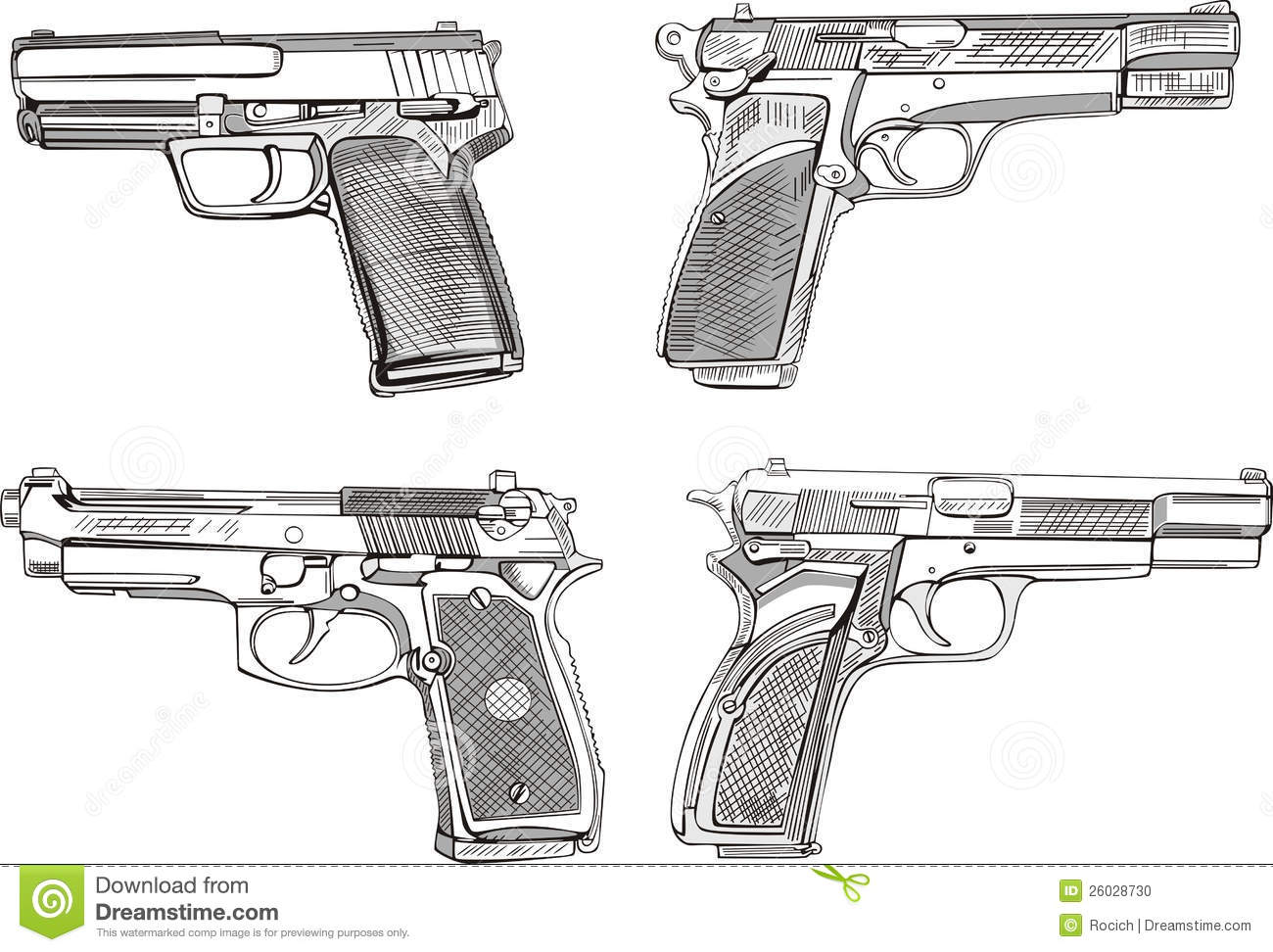 Pistol sketches set of black and white vector illustrations