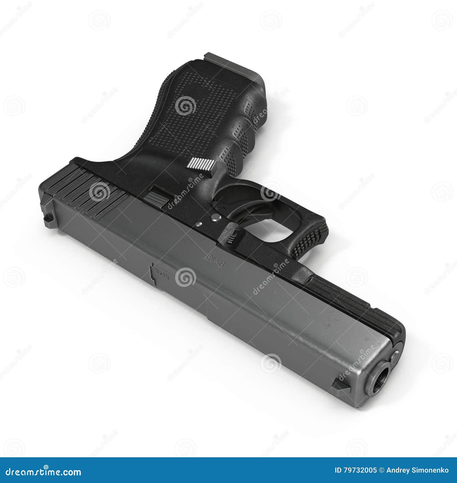 Pistola automática de la arma de mano de 9m m aislada en blanco ilustración 3D