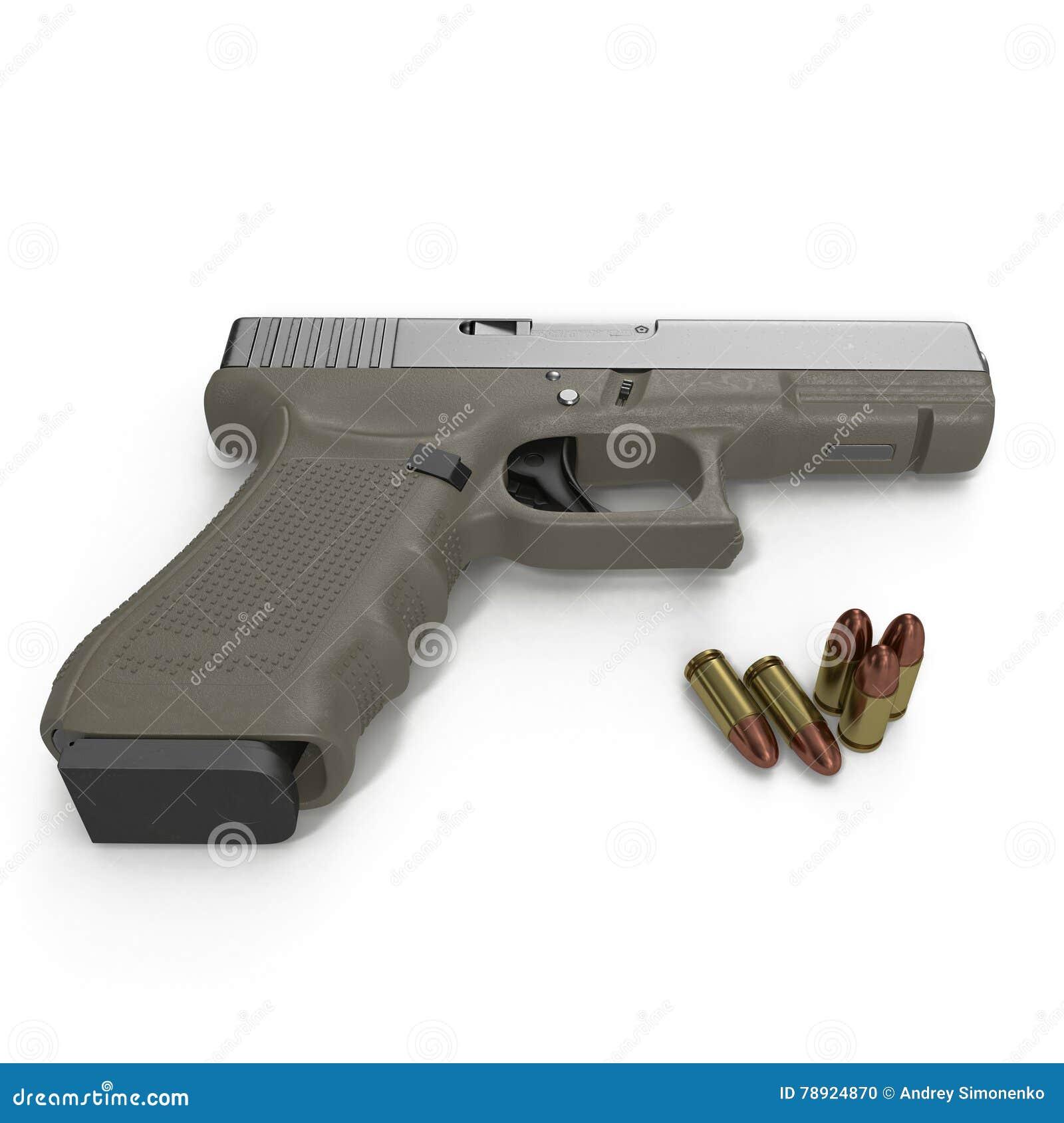 Pistola automatica con munizioni su bianco illustrazione 3D