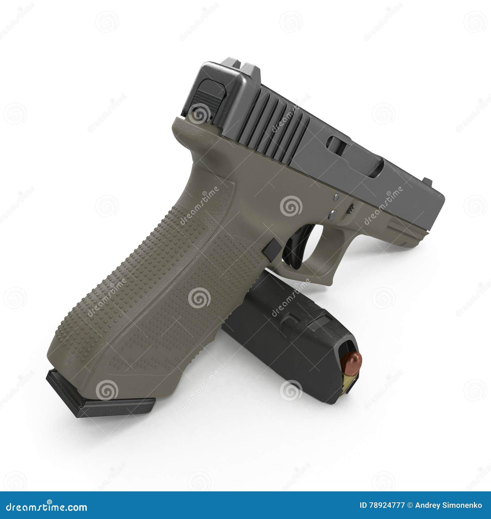Pistola automatica dei semi con la rivista e le munizioni su un bianco illustrazione 3D
