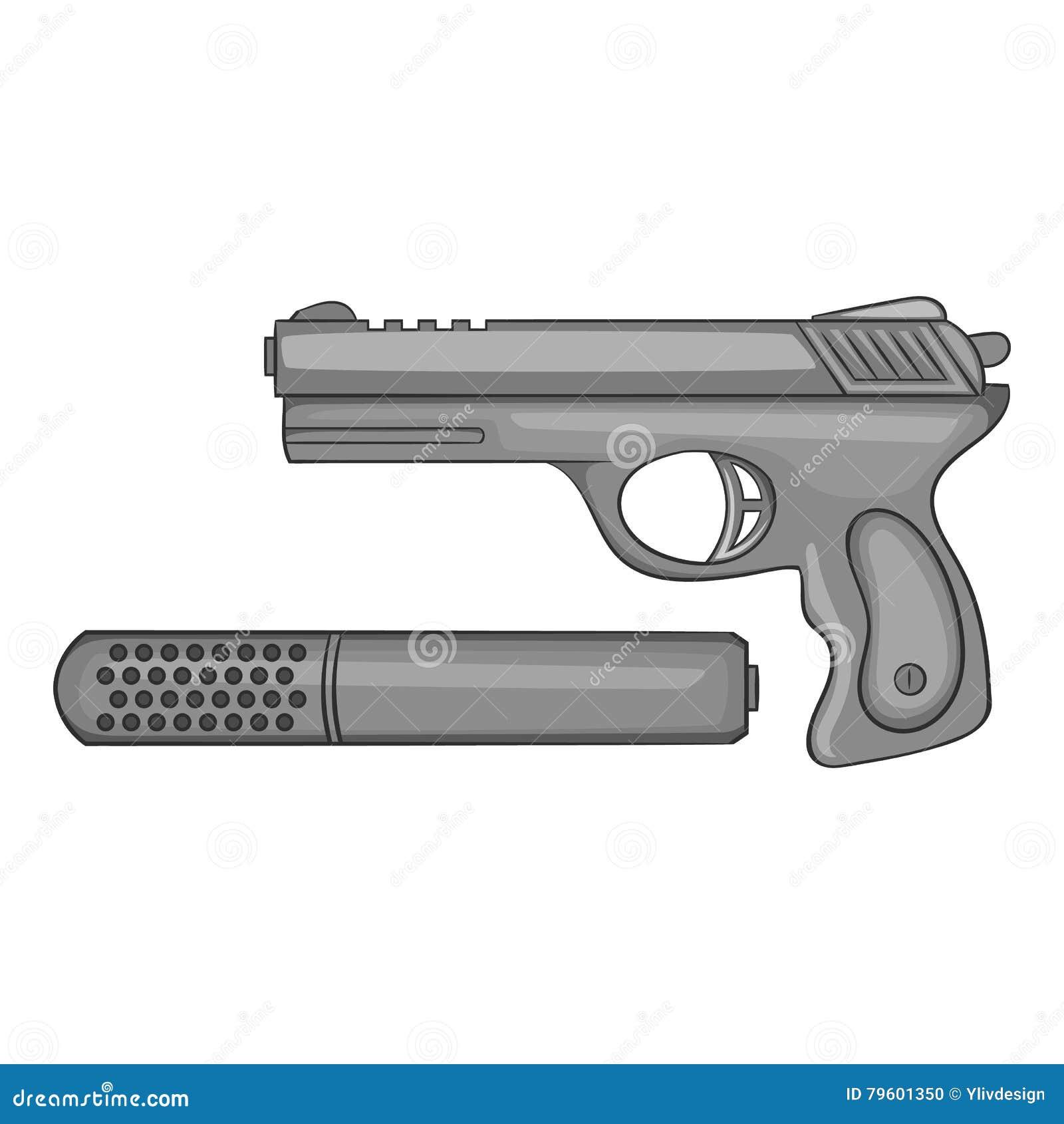 Pistola com um ícone do silenciador, estilo monocromático