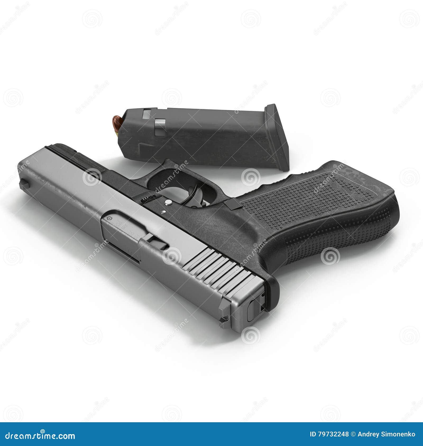 Pistola negra automática con la munición en blanco ilustración 3D