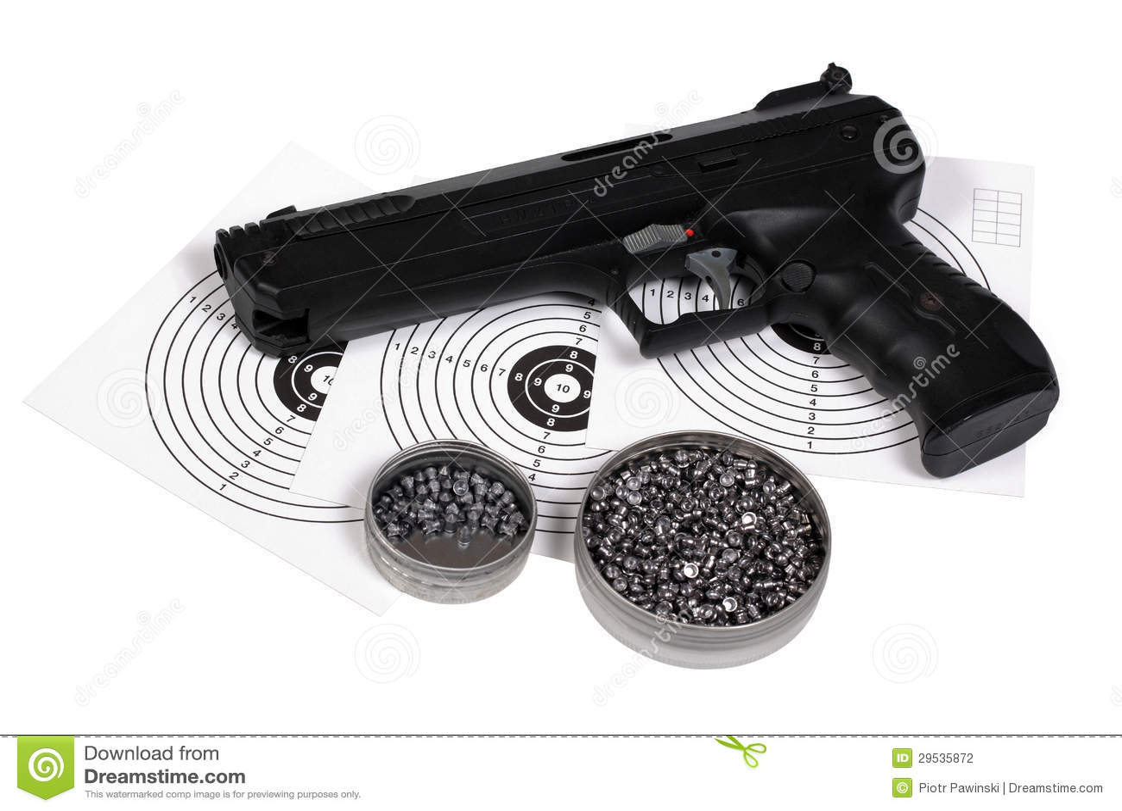 Pistola pneumática com arma-protetor e pelotas na caixa