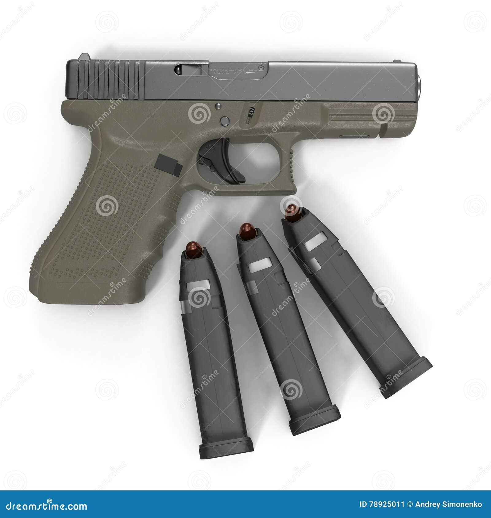 Pistola semi automática com compartimento e munição em um branco ilustração 3D