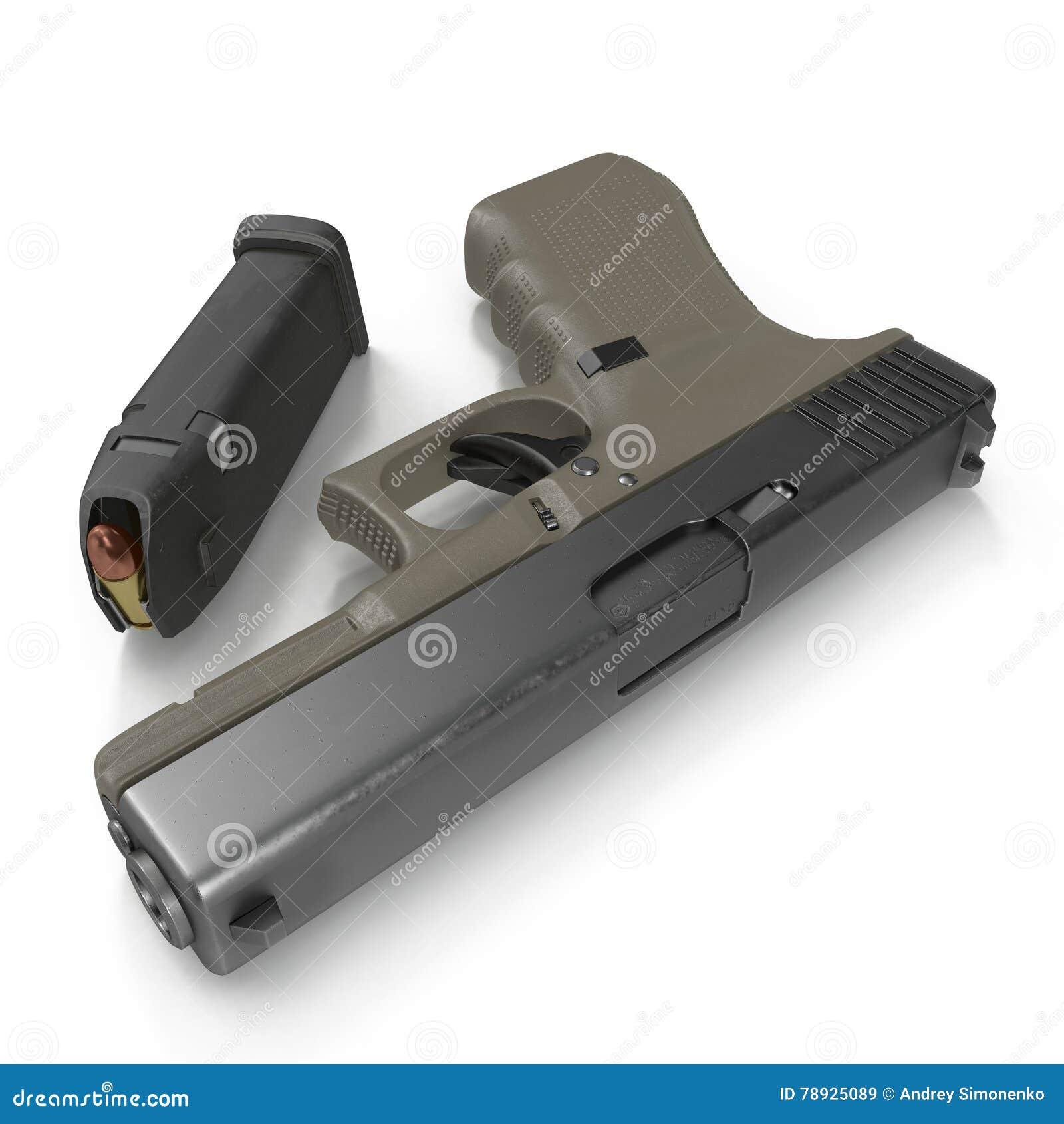 Pistola semi automática con la revista y la munición en un blanco ilustración 3D