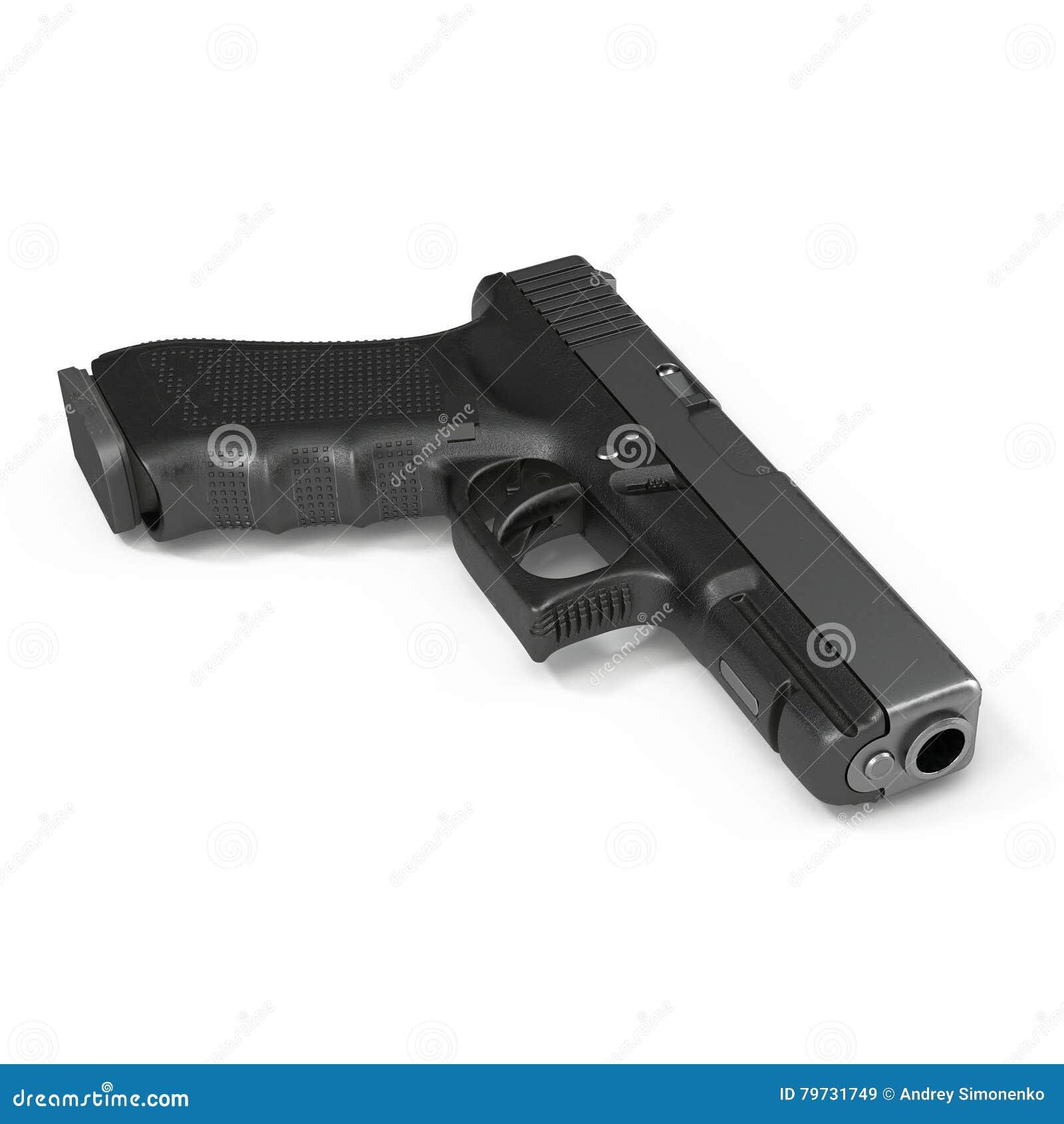 Pistola semiautomática aislada en un blanco ilustración 3D