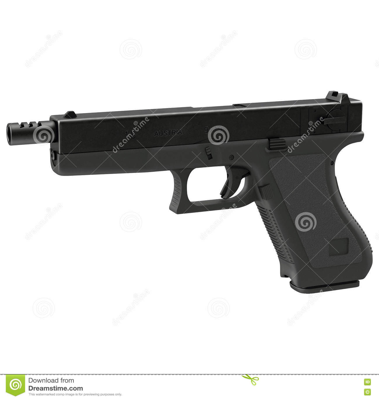 Pistola semiautomática na ilustração 3D branca