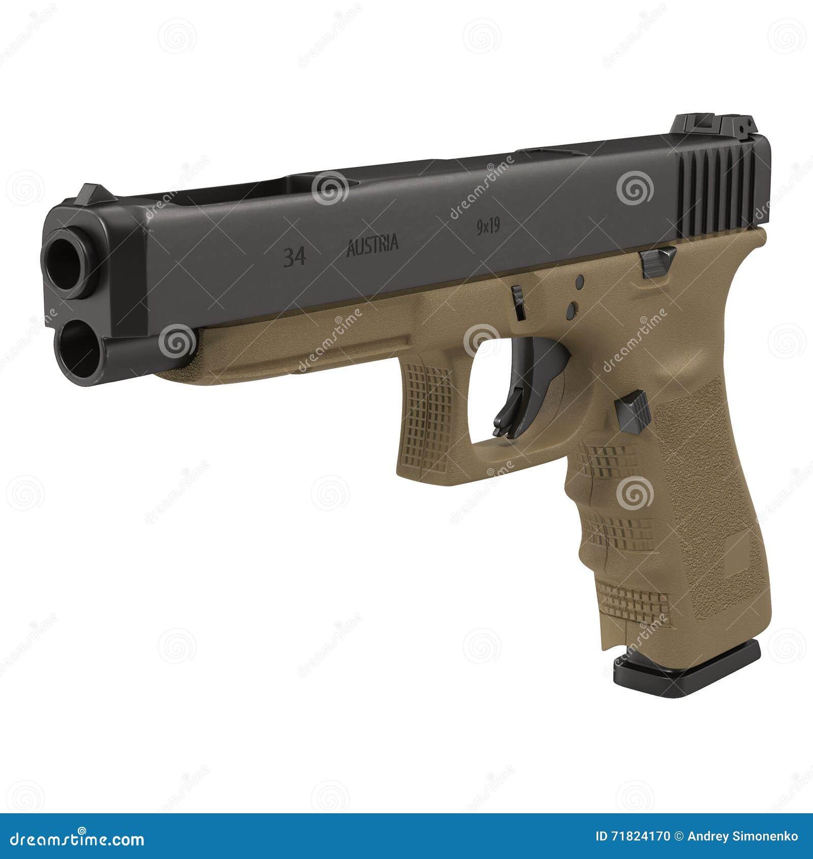 Pistola semiautomatica sull illustrazione bianca 3D