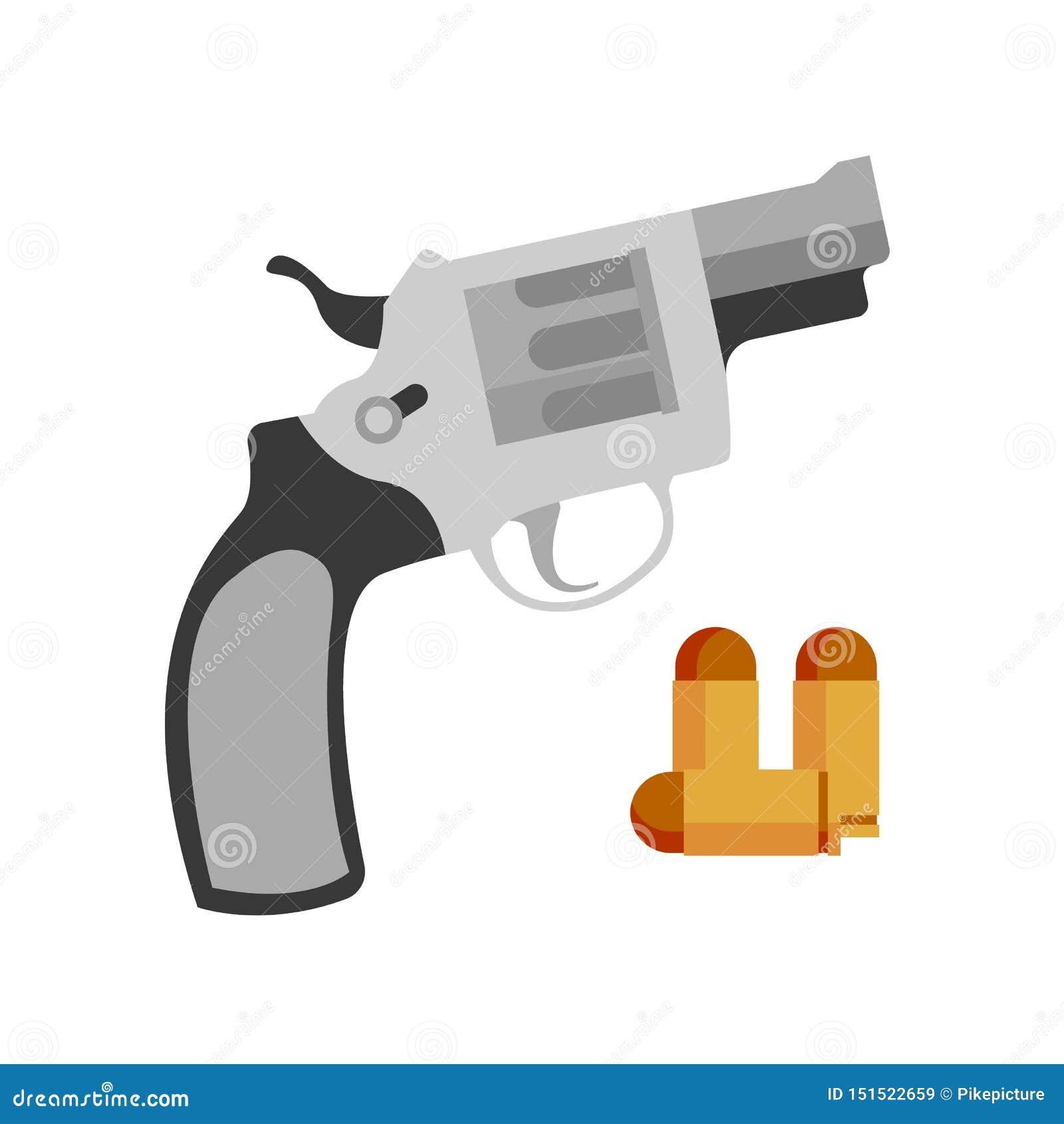 Pistolen-Revolver Nagant und Pistolen-Kugel-Vektor