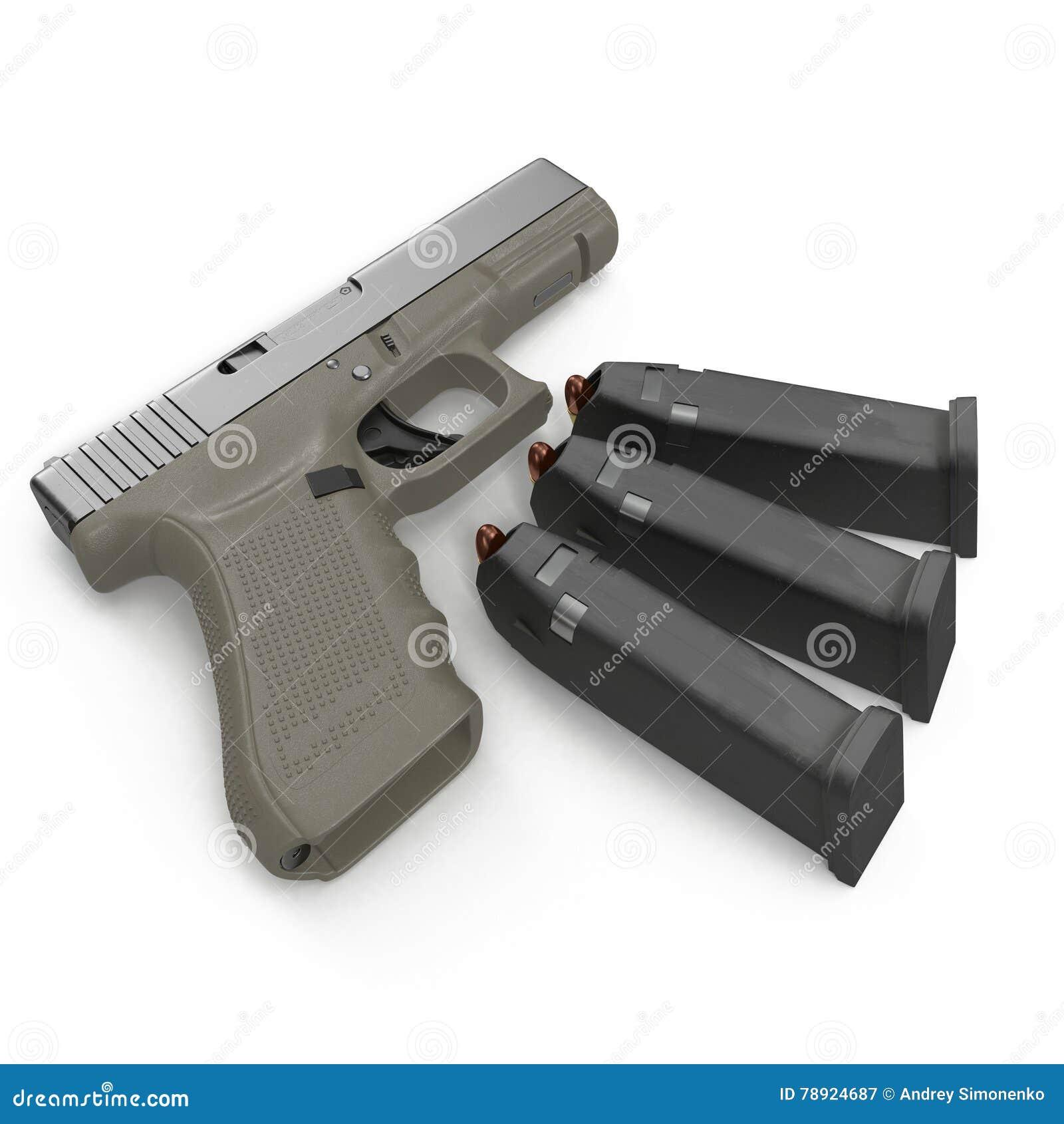 Pistolet semi automatique avec la magazine et les munitions sur un blanc illustration 3D