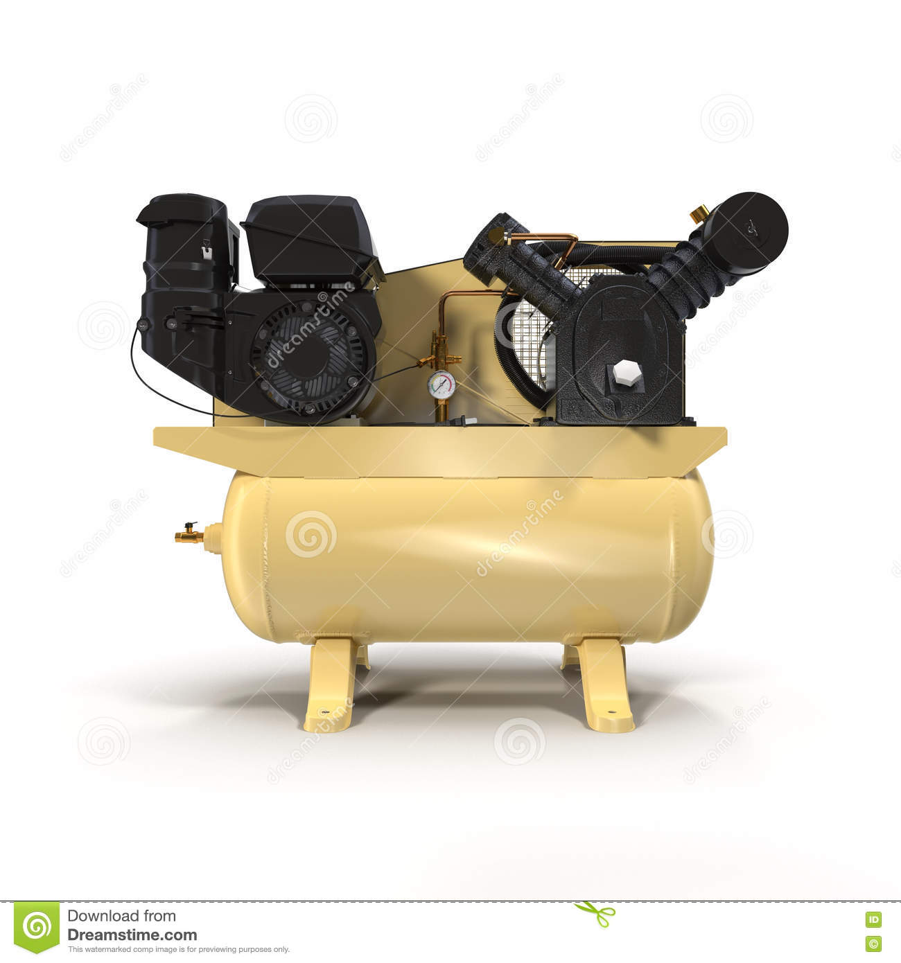 Piston Air Compressor On White 3D Illustration Stock Illustration