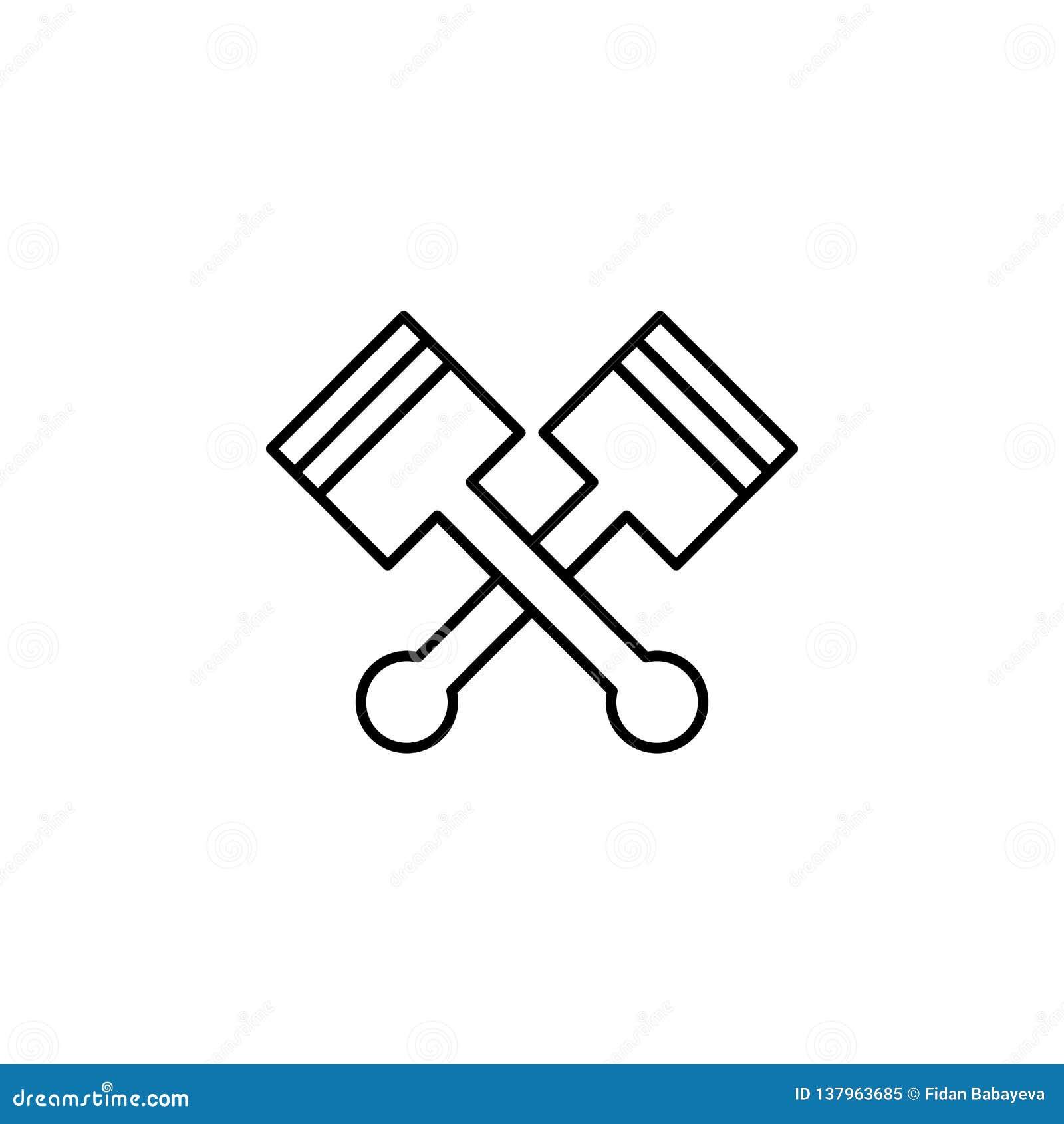 Pistones, icono cruzado del esquema Puede ser utilizado para la web, logotipo, app móvil, UI, UX