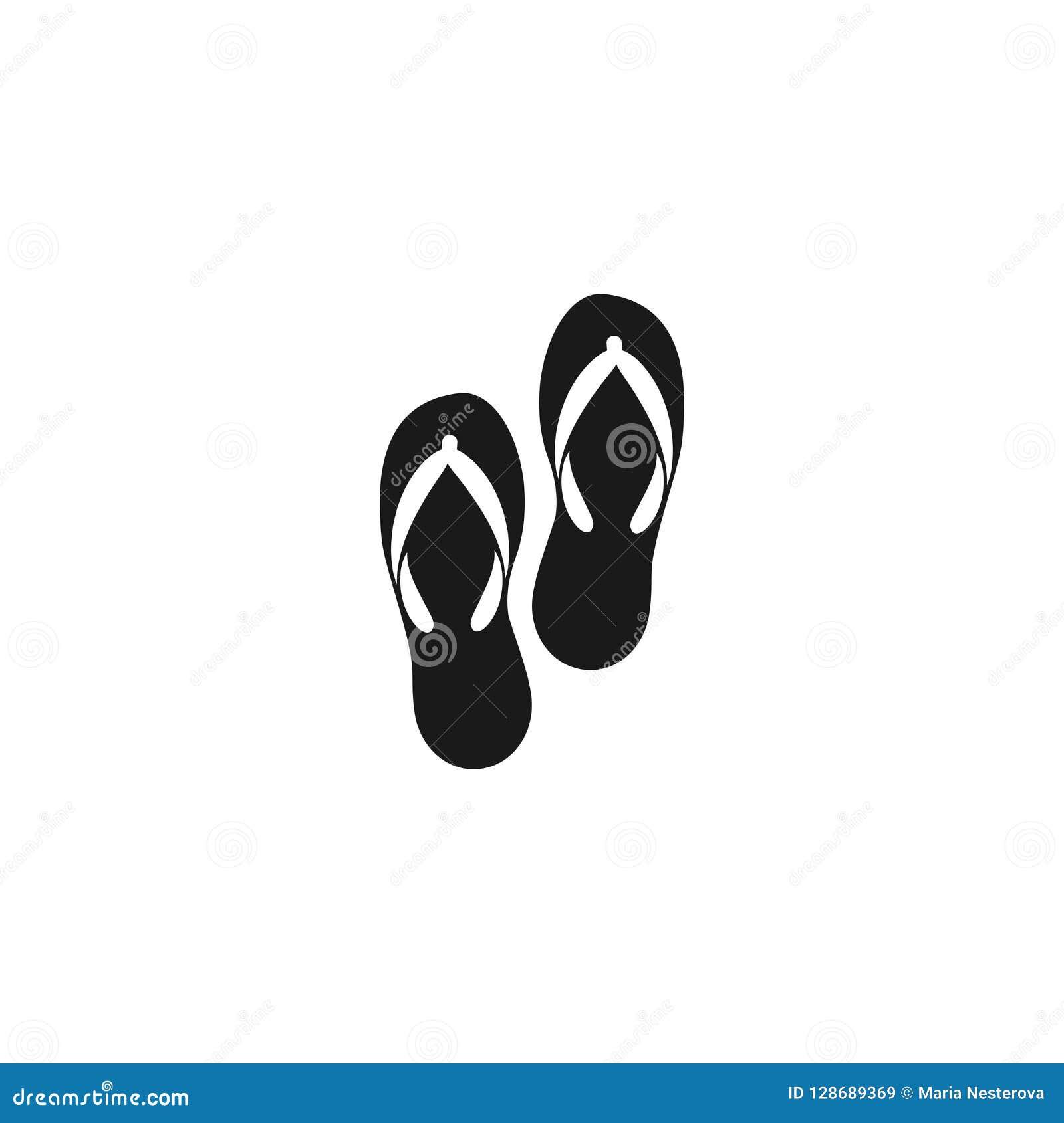 Pistoni neri Paia dei Flip-flop, attributo di vacanza di ora legale, scarpe