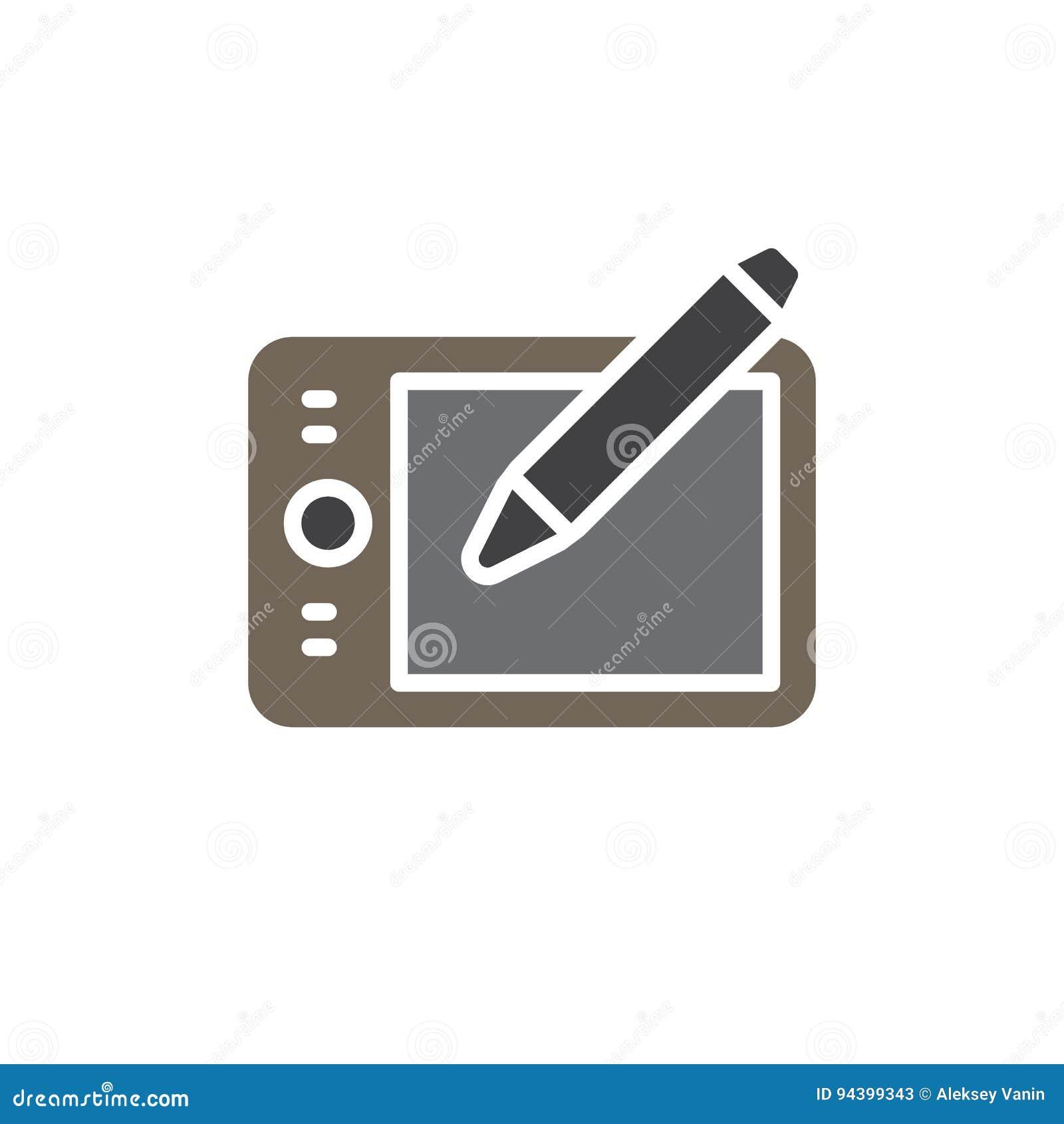 Pisze pastylki digitizer wektorową ikonę, kolorowy znak