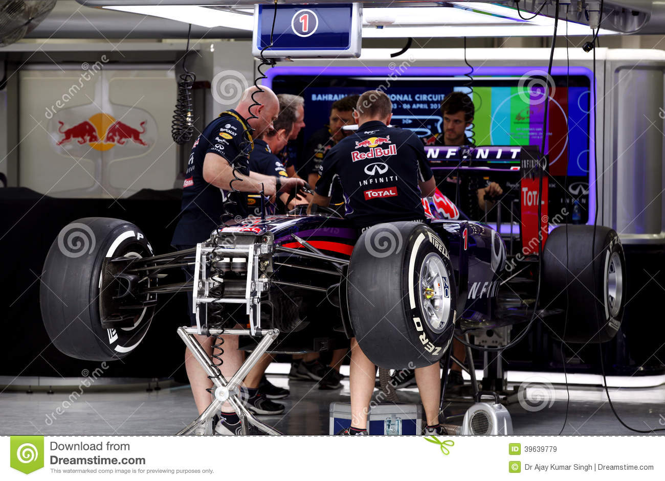 Pit Stop Garage Of Team Red Bull Racing-Renault Editorial Stock Image ...