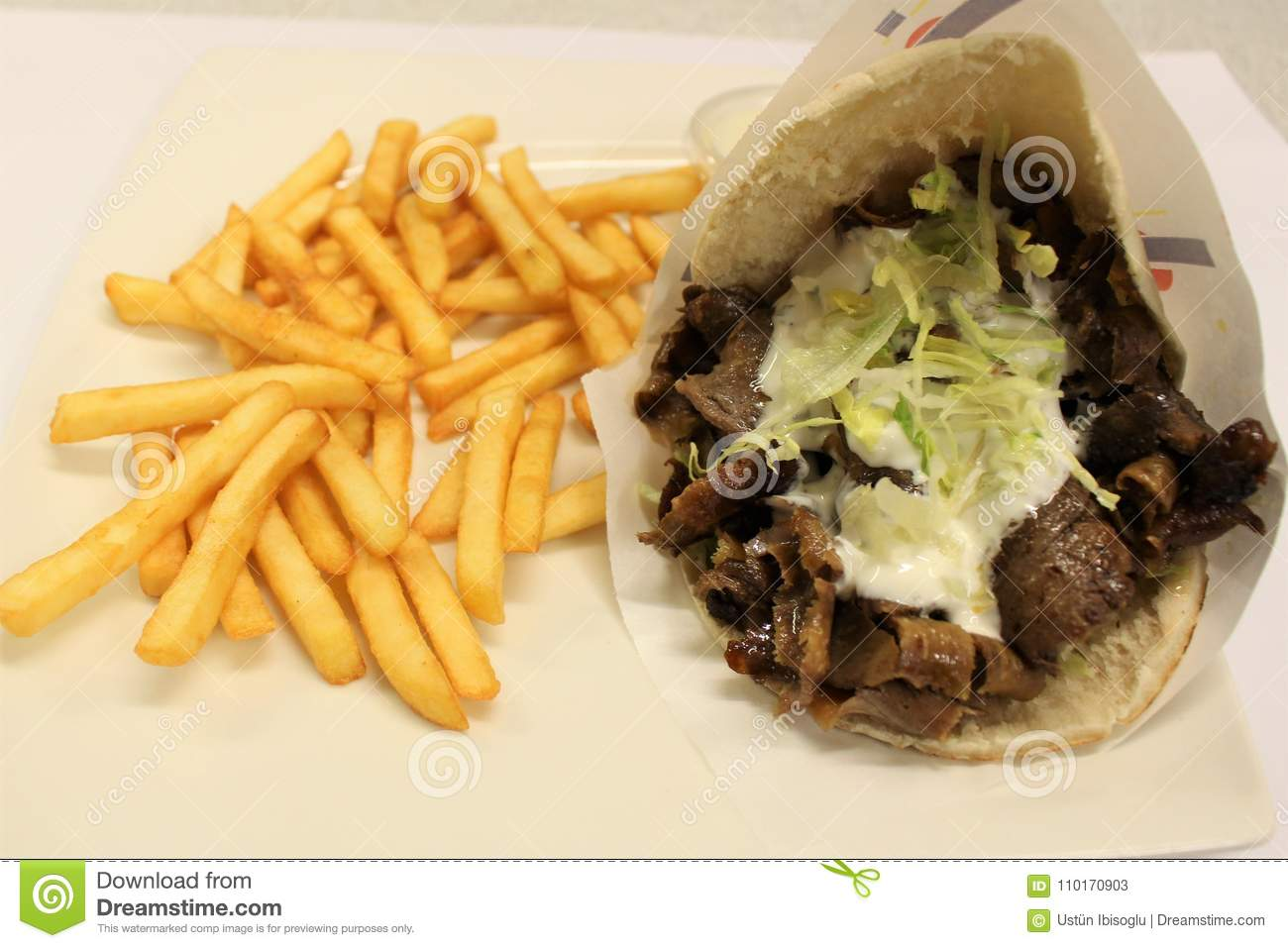 Pita Doner Meat Menu Turkish Kebab Menu Served On A Plate Stock Image Image Of Kebab French 110170903