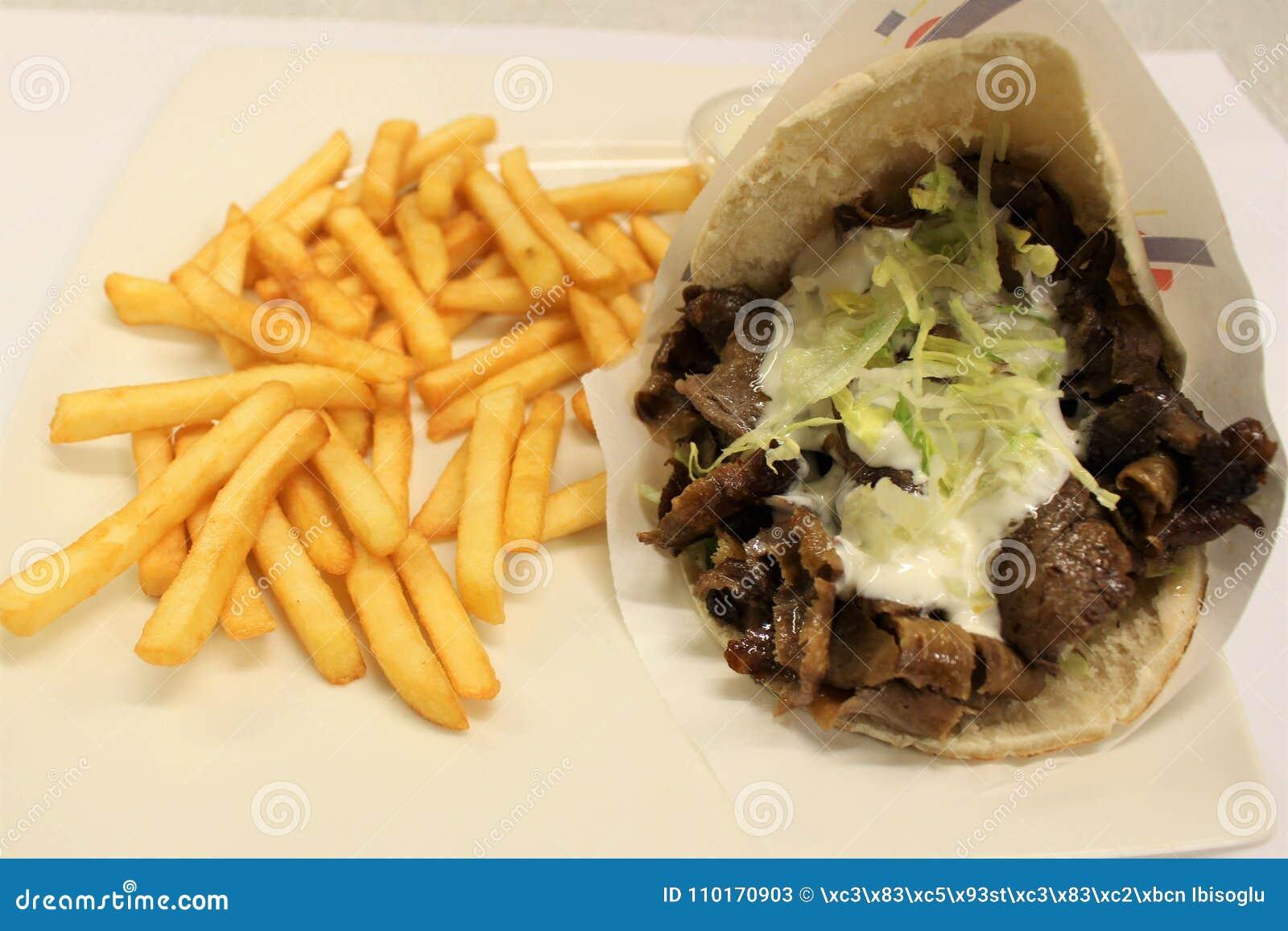 Pita Doner Meat Menu Turkish Kebab Menu Served On A Plate Stock Image Image Of Kebab French 110170903