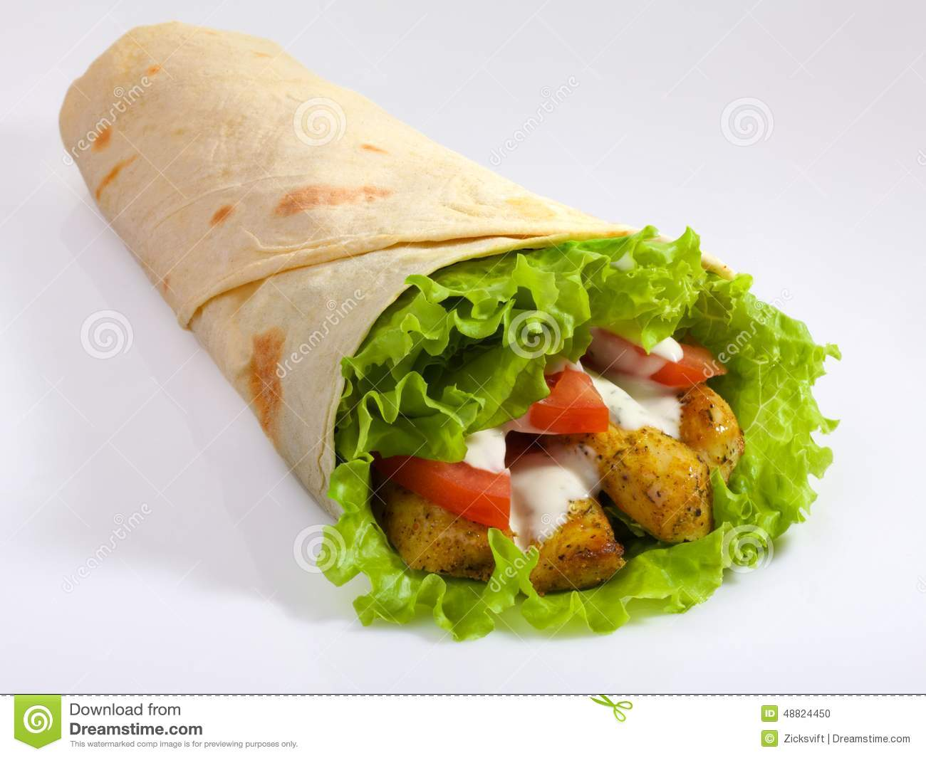 Appetizing pita isolated on white background. Appetizing kebab.