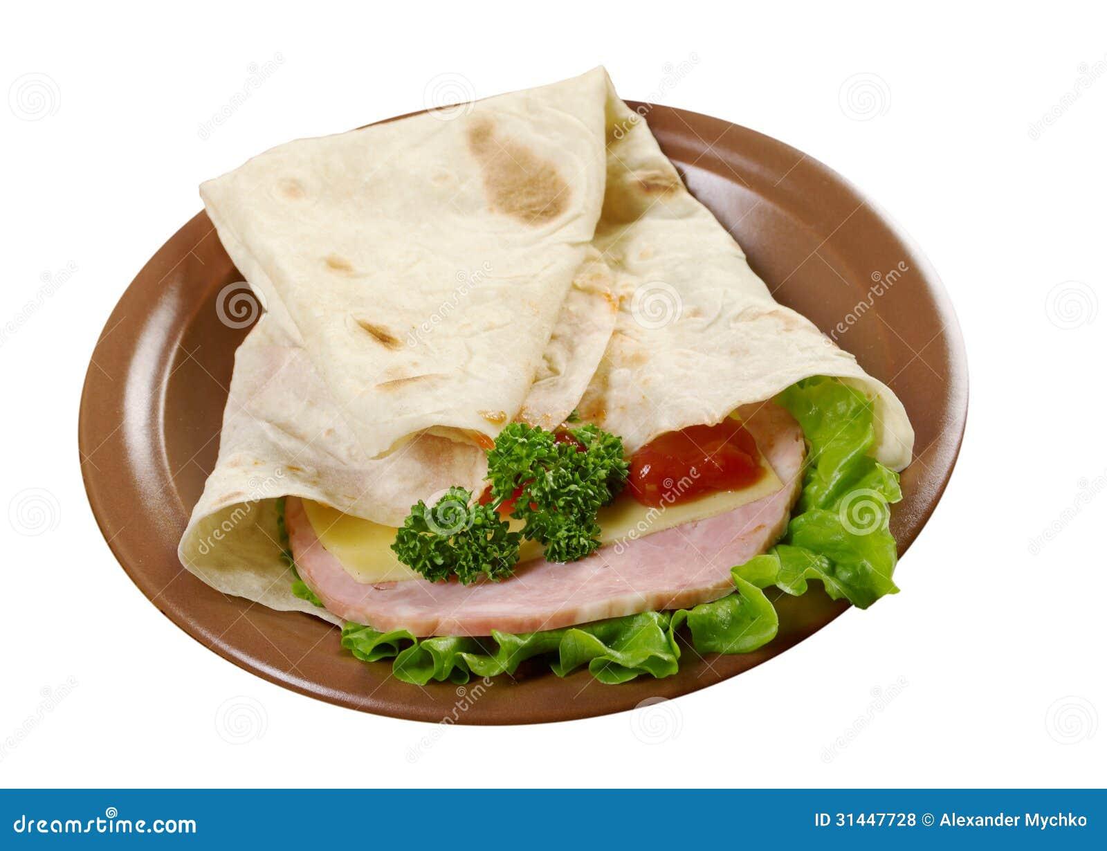 Pita Sandwich With Cheese,ham Royalty Free Stock Photos ...