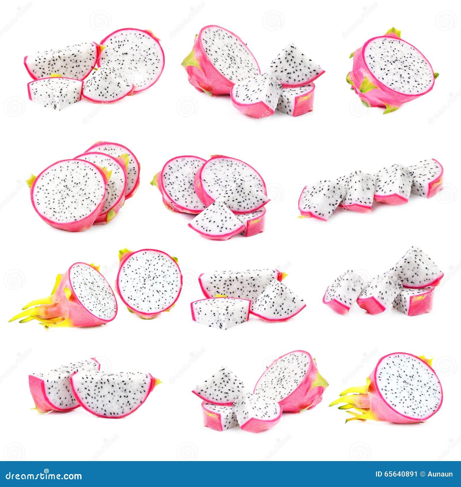Pitaya épluché ou Dragon Fruit d isolement sur le fond blanc