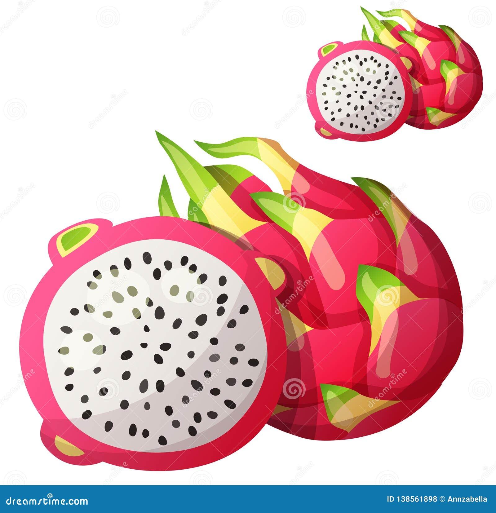 Pitaya Dragon Fruit Fruit  Cartoon Vector Icon Stock Vector