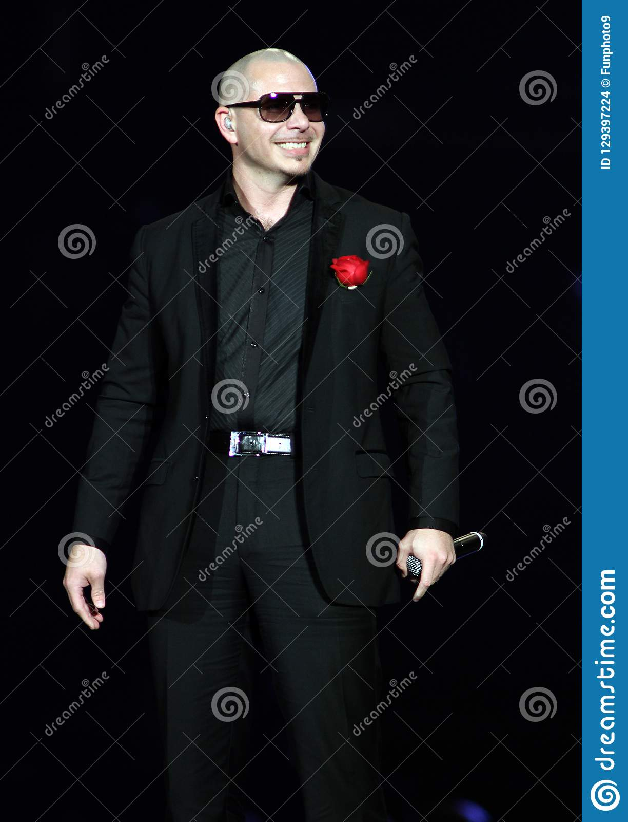 Pitbull performs in concert
