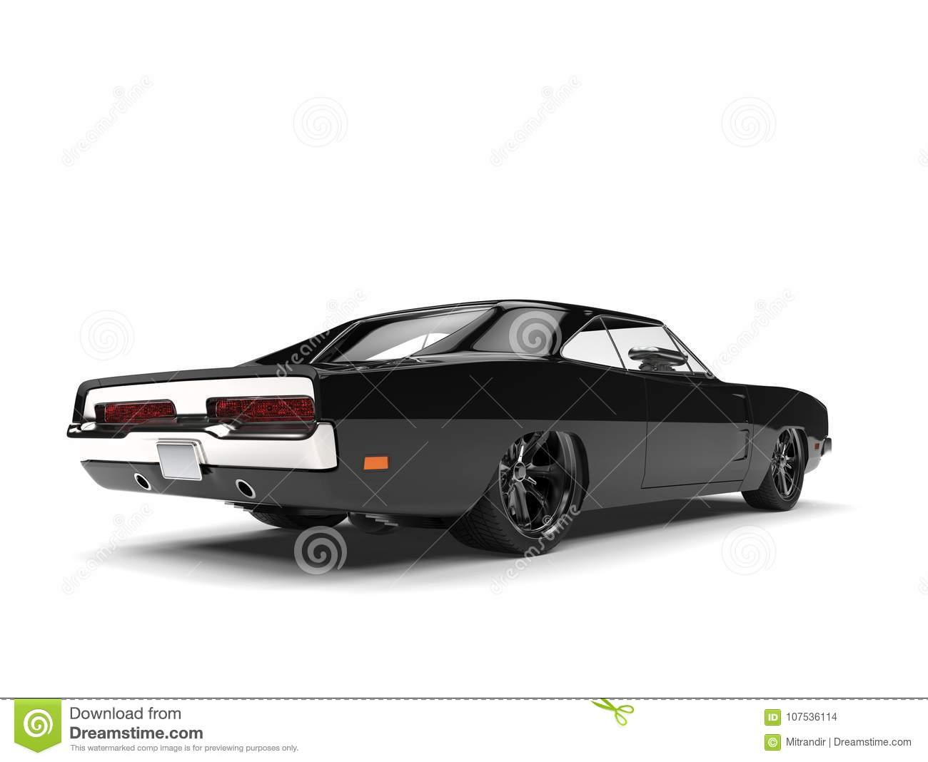 Pitch Black American Vintage Muscle Car Rear View Stock