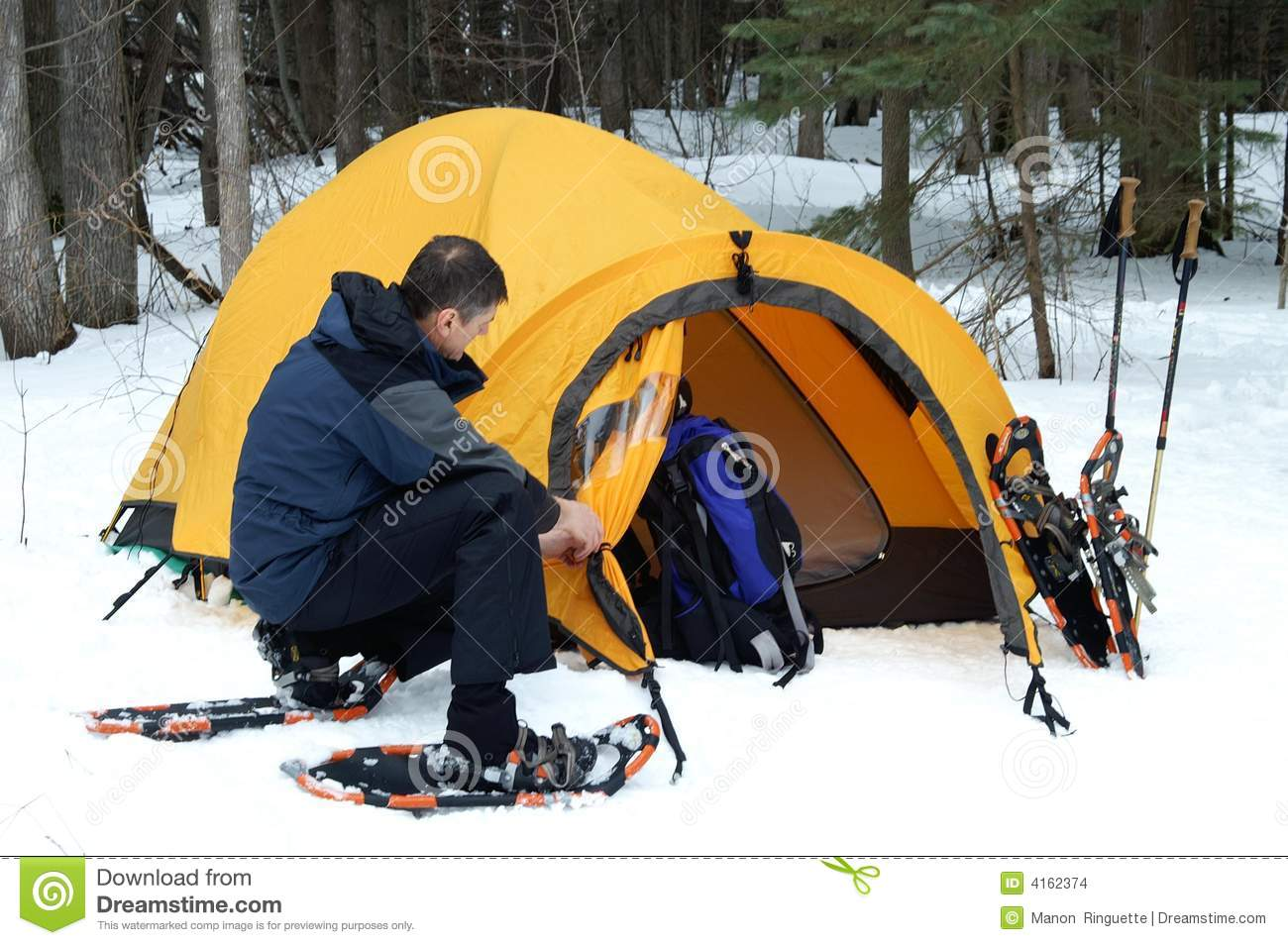 Pitching The Tent Stock Images Image 4162374