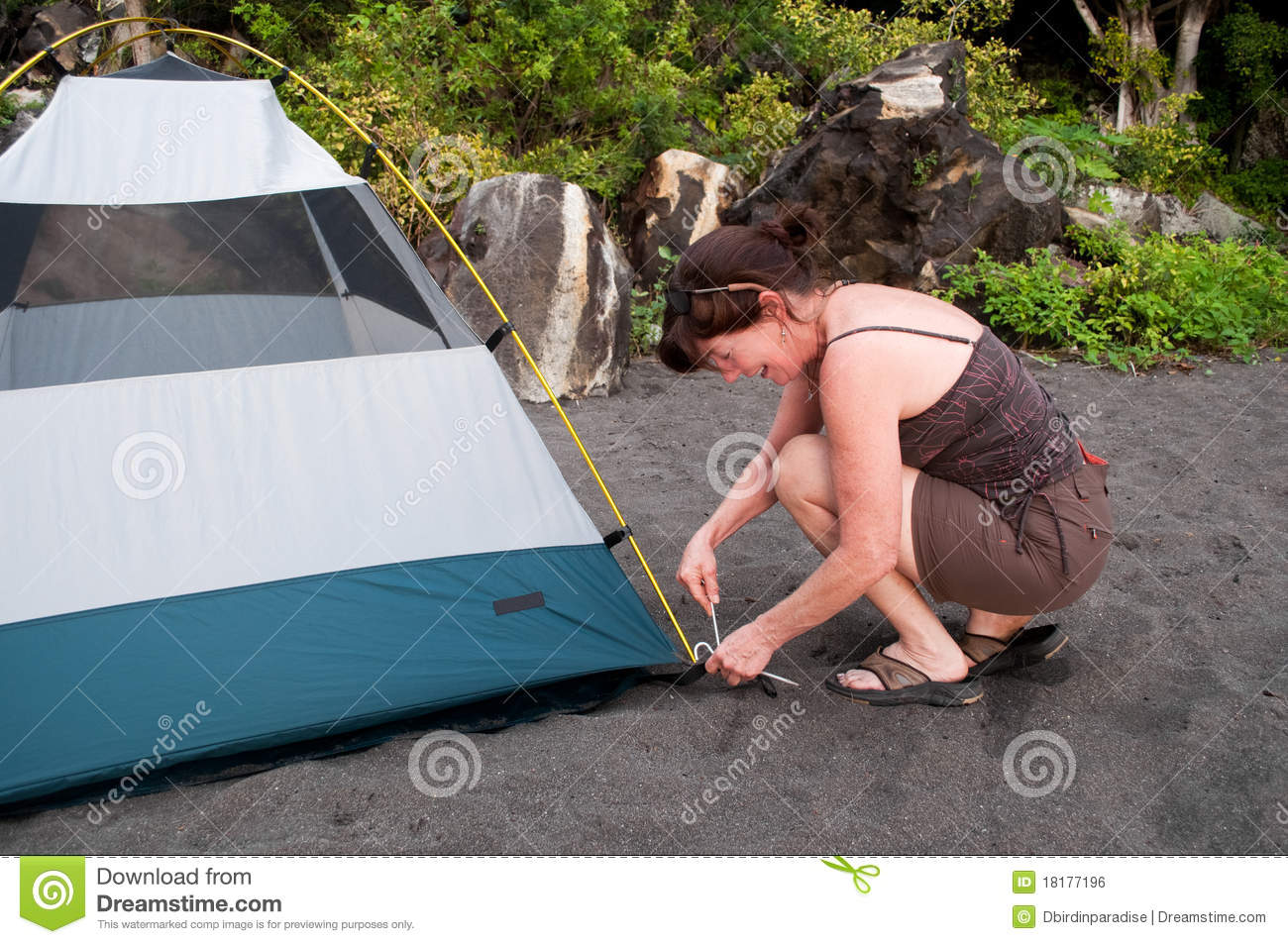 Pitching A Tent-C&ing & Pitching A Tent-Camping stock photo. Image of camping - 18177196