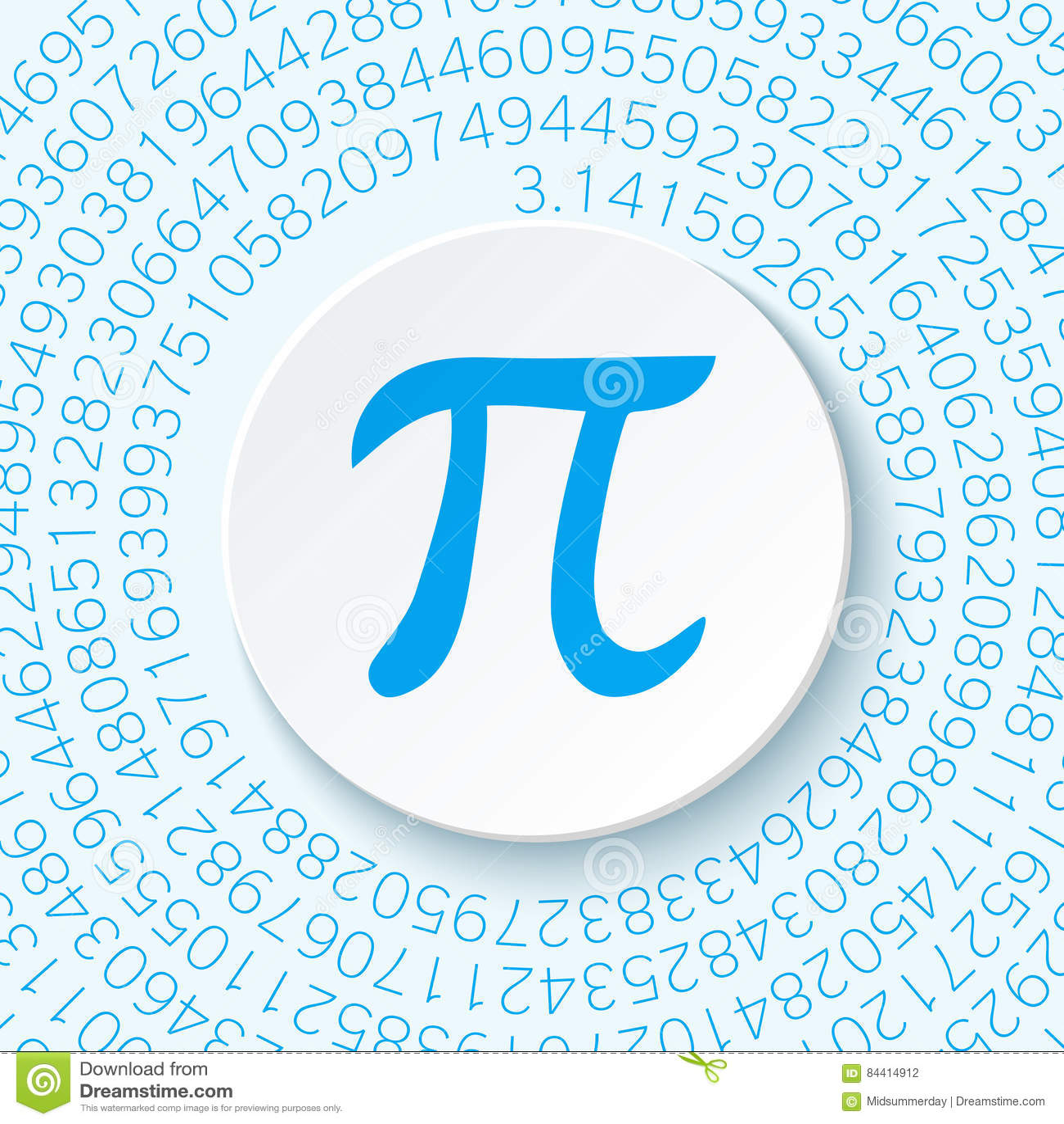 Pitecken med en skugga på en blå bakgrund Matematisk konstant, irrationellt komplext nummer, grekisk bokstav