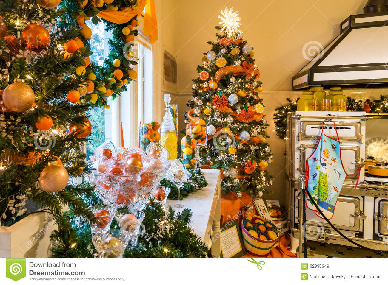 Pittock Mansion Kitchen In Christmas Editorial Stock Image - Image ...