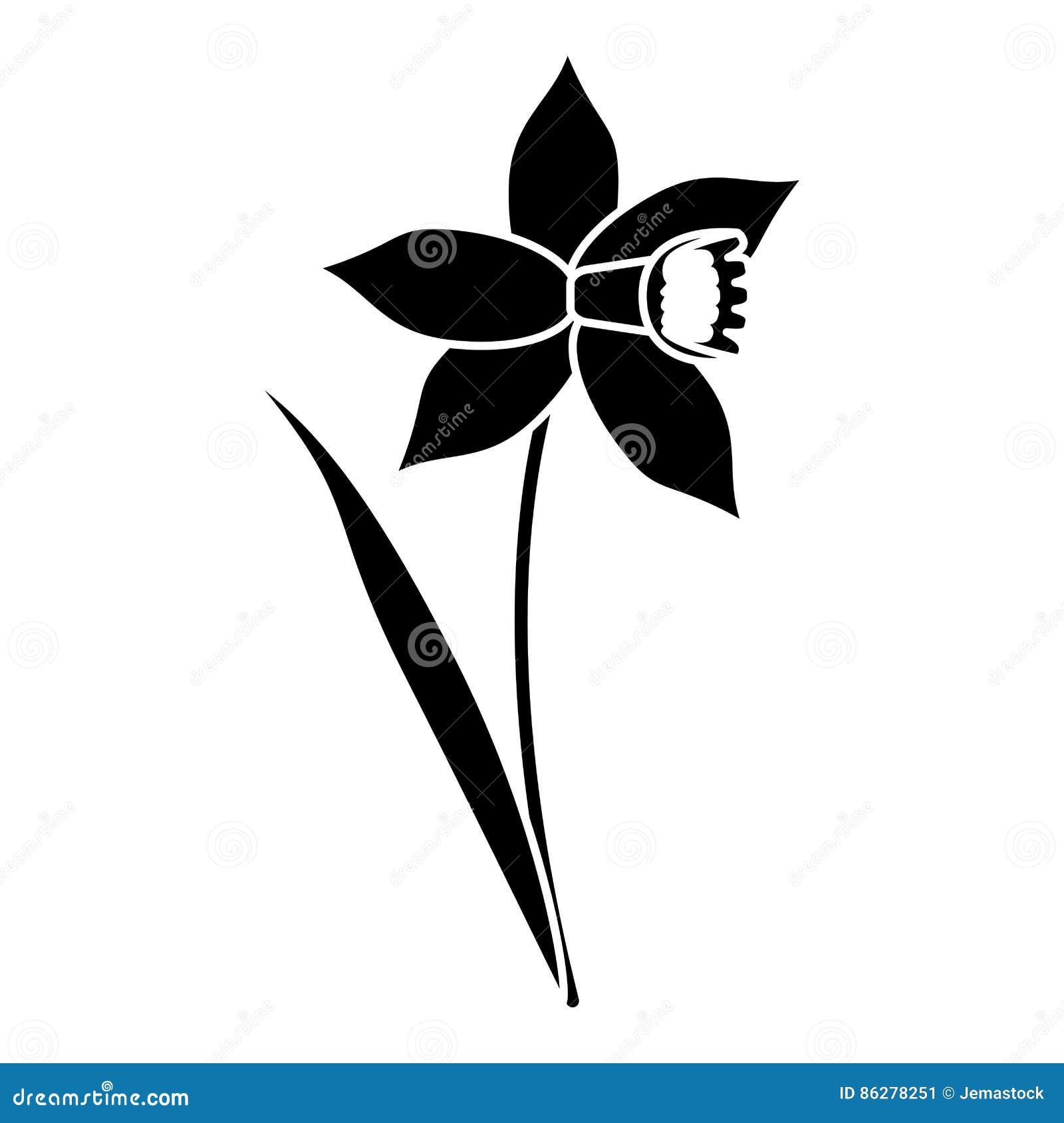 Pittogramma della fioritura della foglia del fiore del narciso