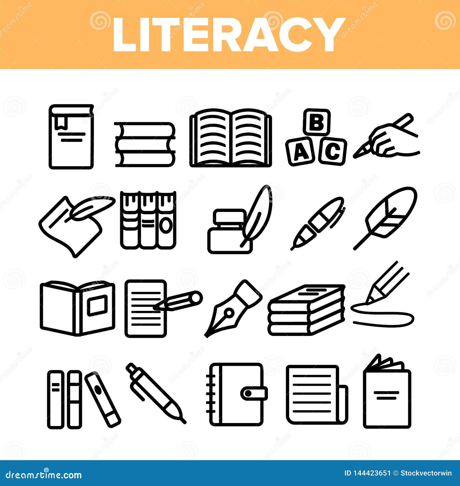 Pittogramma sottile dell insieme delle icone di vettore lineare di alfabetizzazione